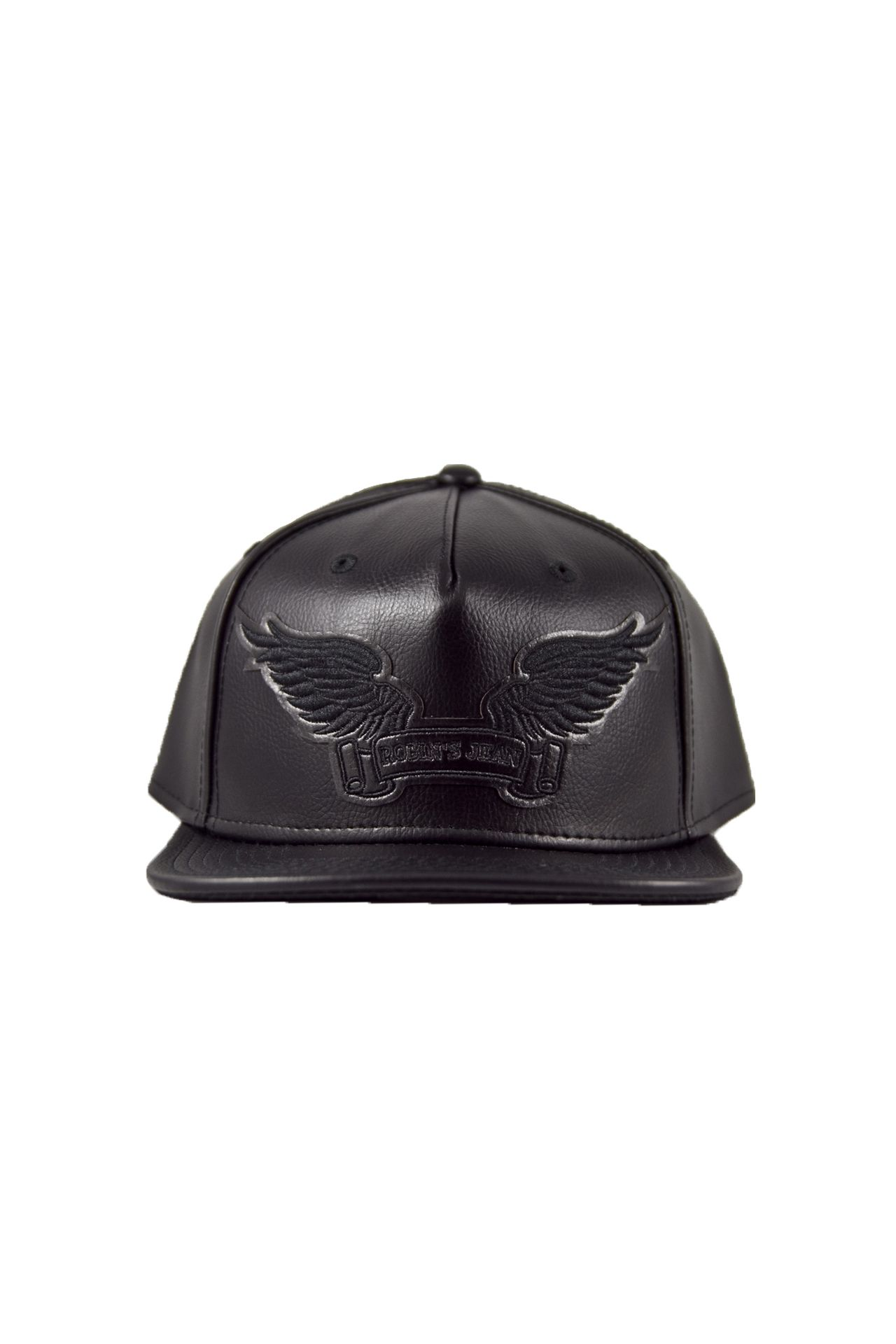 BLACK LEATHER LOOK CAP