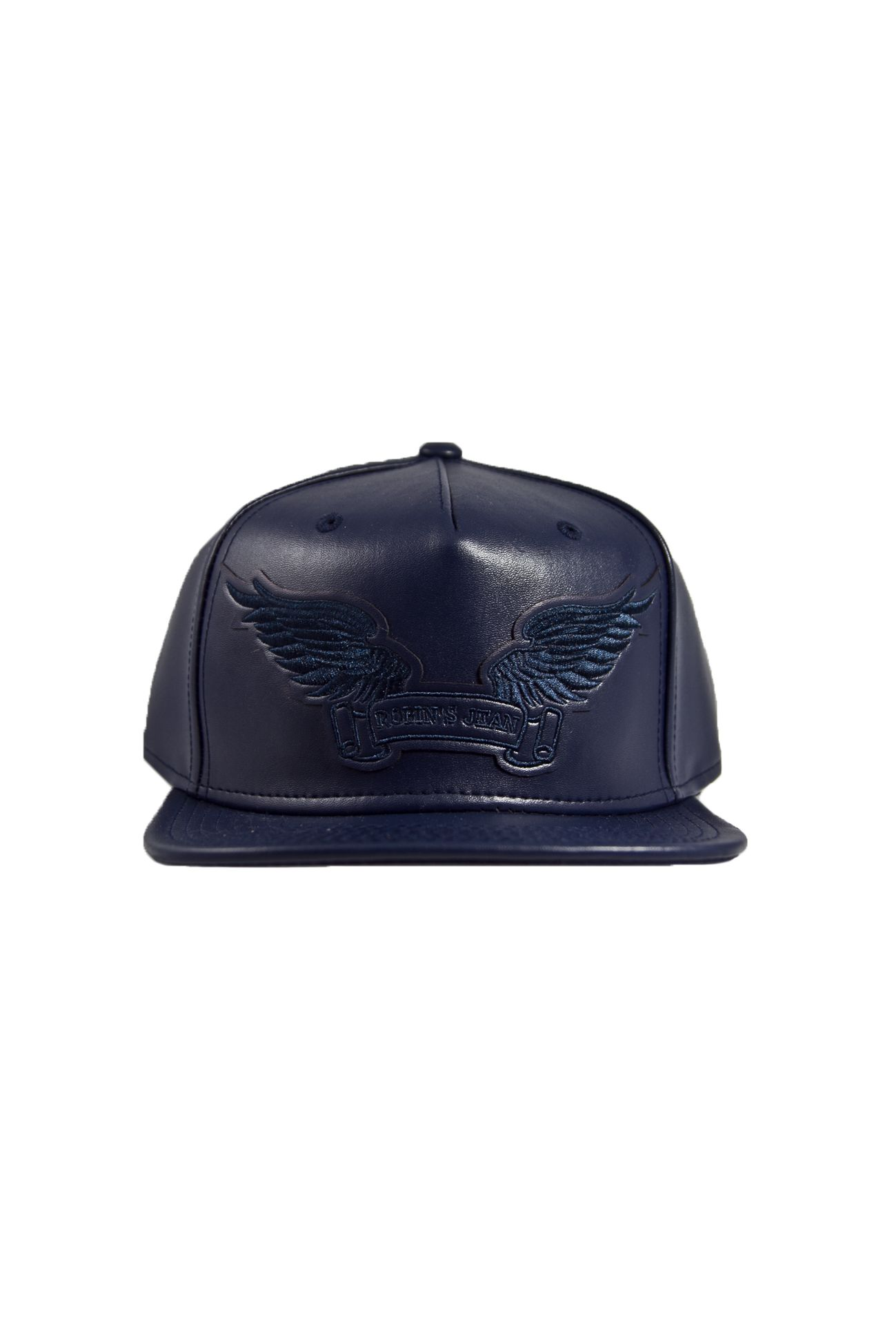 NAVY LEATHER LOOK CAP