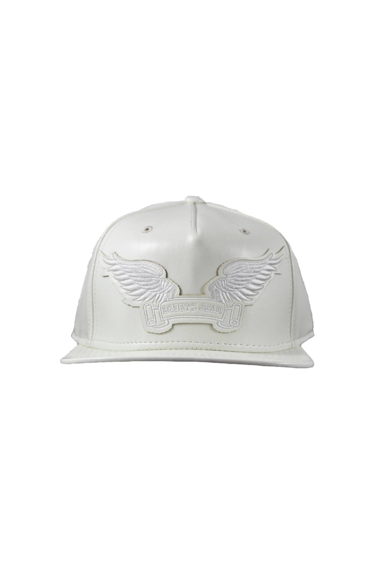 WHITE LEATHER LOOK CAP