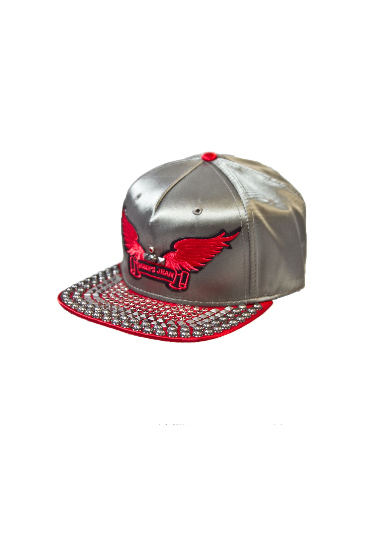 SILVER SATIN CAP 2 TONES WITH RED CRYSTALS AND SILVER PYRAMIDS, STUDS.SIGNATURE WINGS