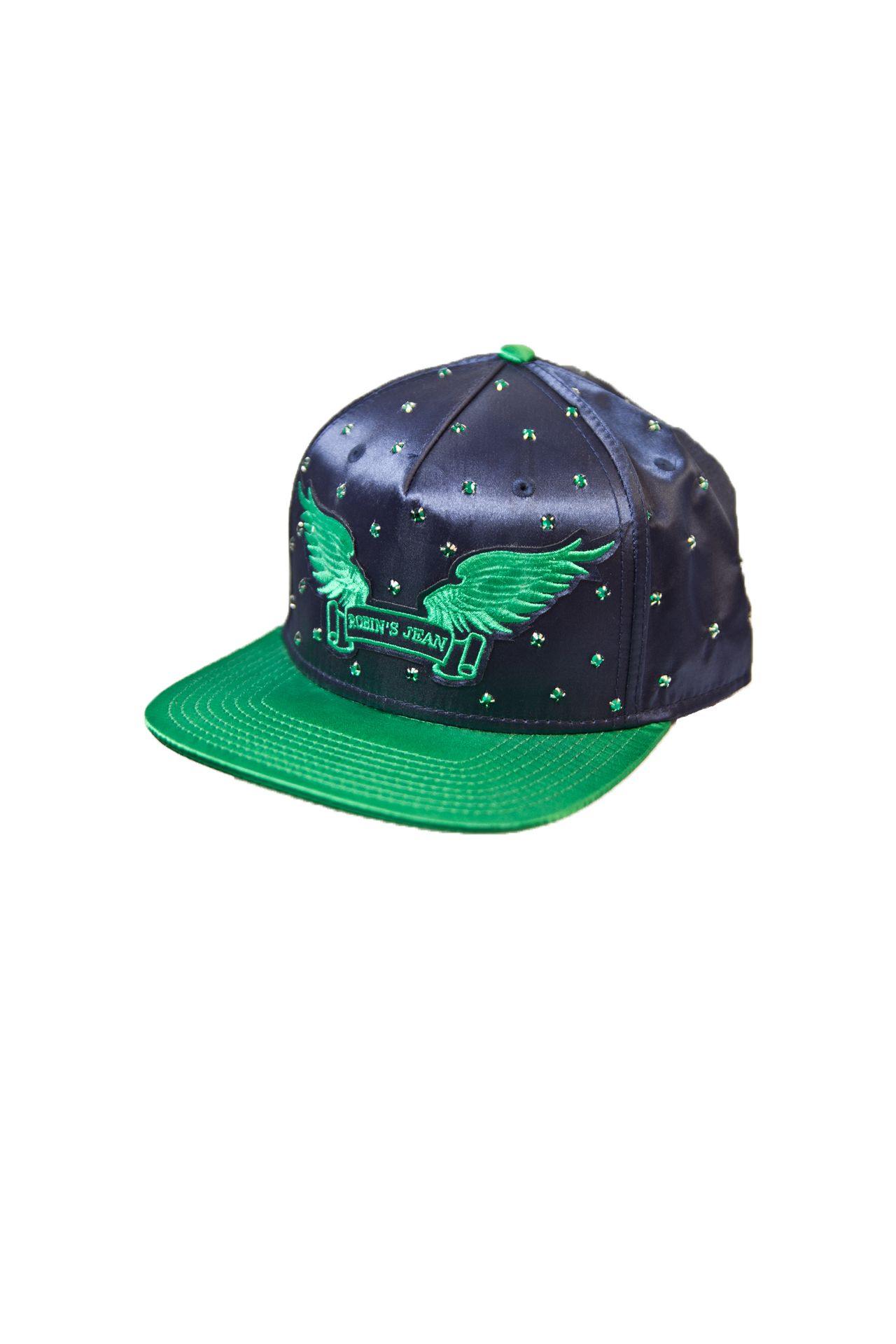 NAVY SATIN CAP 2 TONES WITH GREEN CRYSTALS AND SIGNATURE WINGS