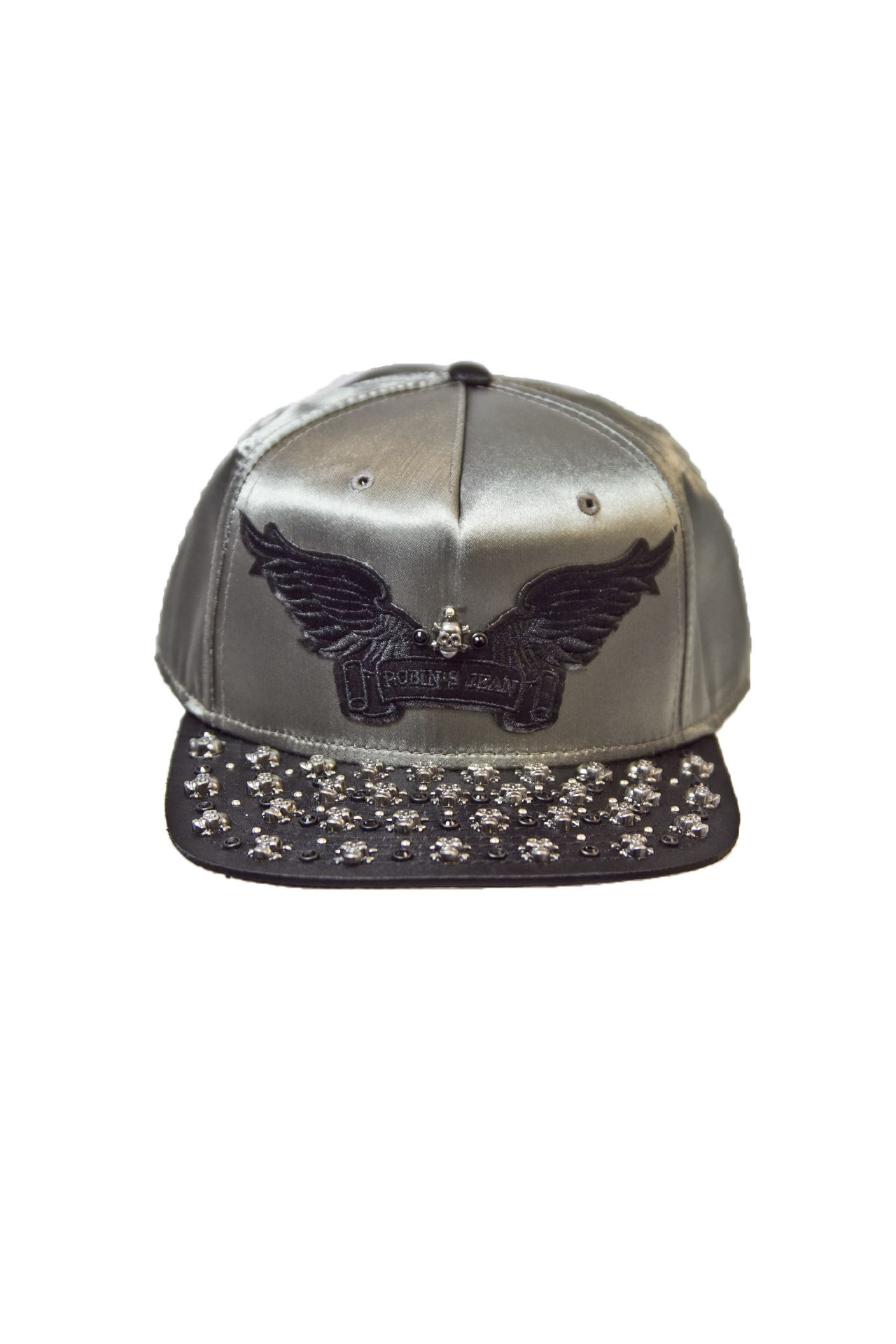 SILVER SATIN CAP 2 TONES WITH BLACK CRYSTALS, SILVER SKULLS AND SIGNATURE WINGS