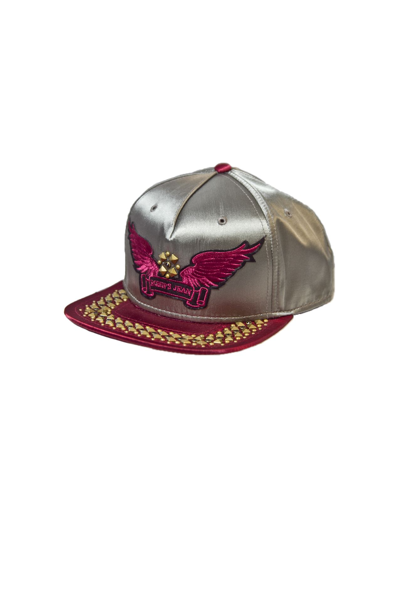 SILVER SATIN CAP 2 TONES WITH TOPAZE CRYSTALS, GOLD PYRAMID AND SIGNATURE WINGS