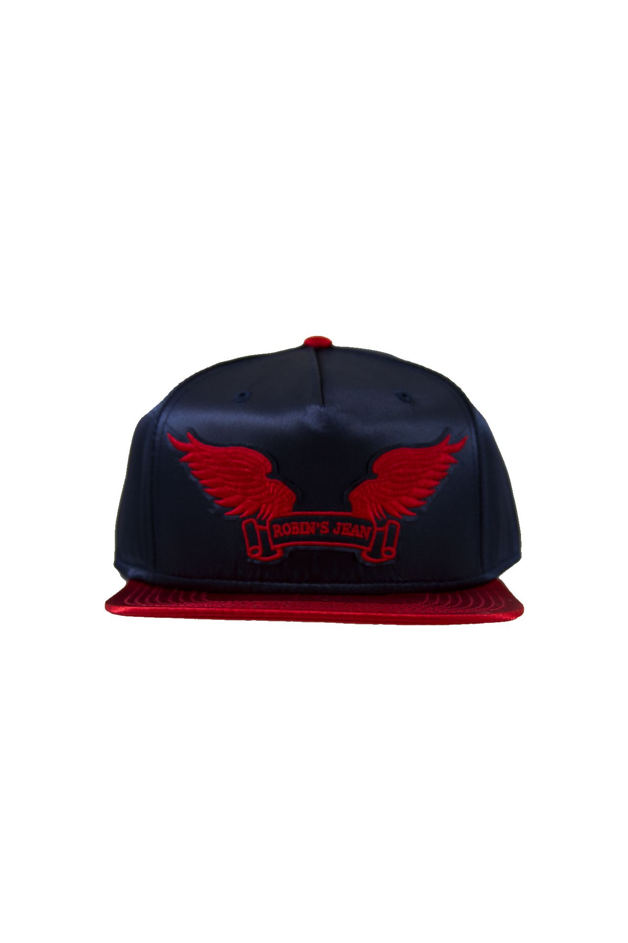NAVY AND RED SATIN CAP