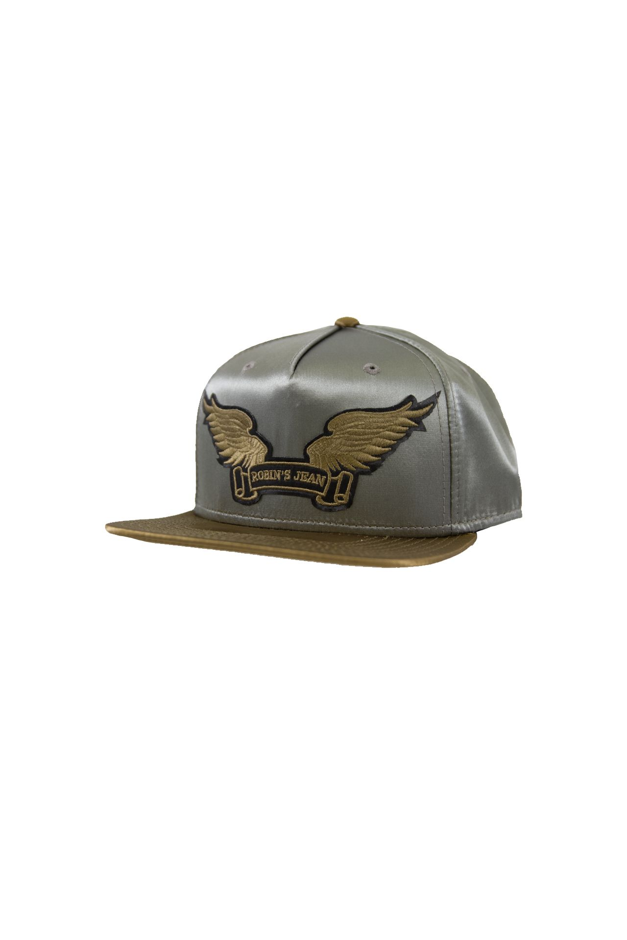 SILVER AND BROWN SATIN CAP