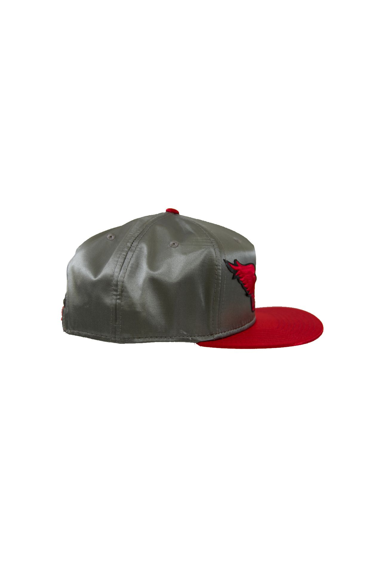 SILVER AND RED SATIN CAP