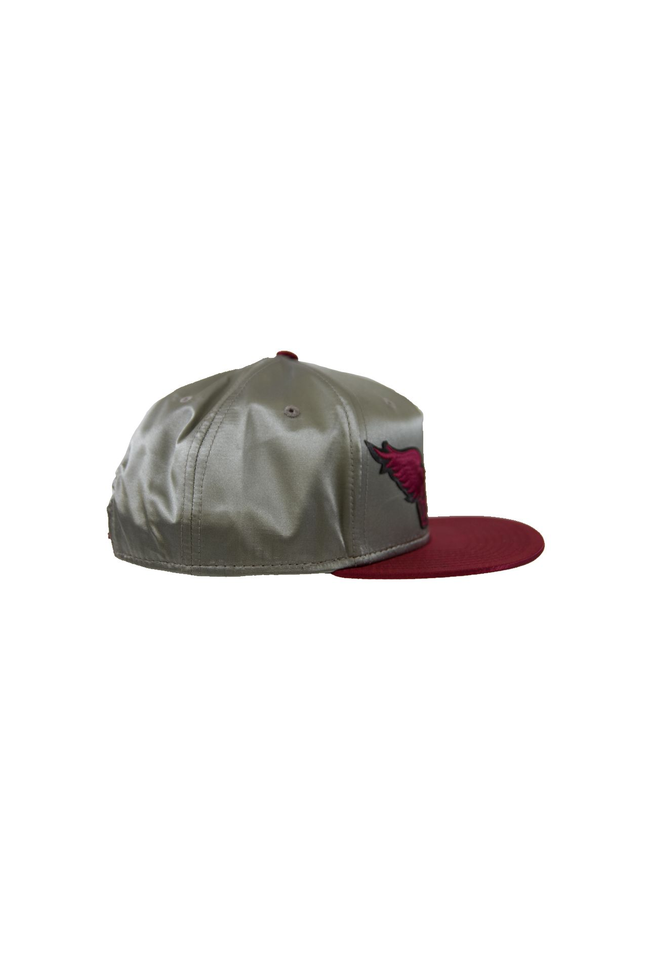 SILVER AND WINE SATIN CAP
