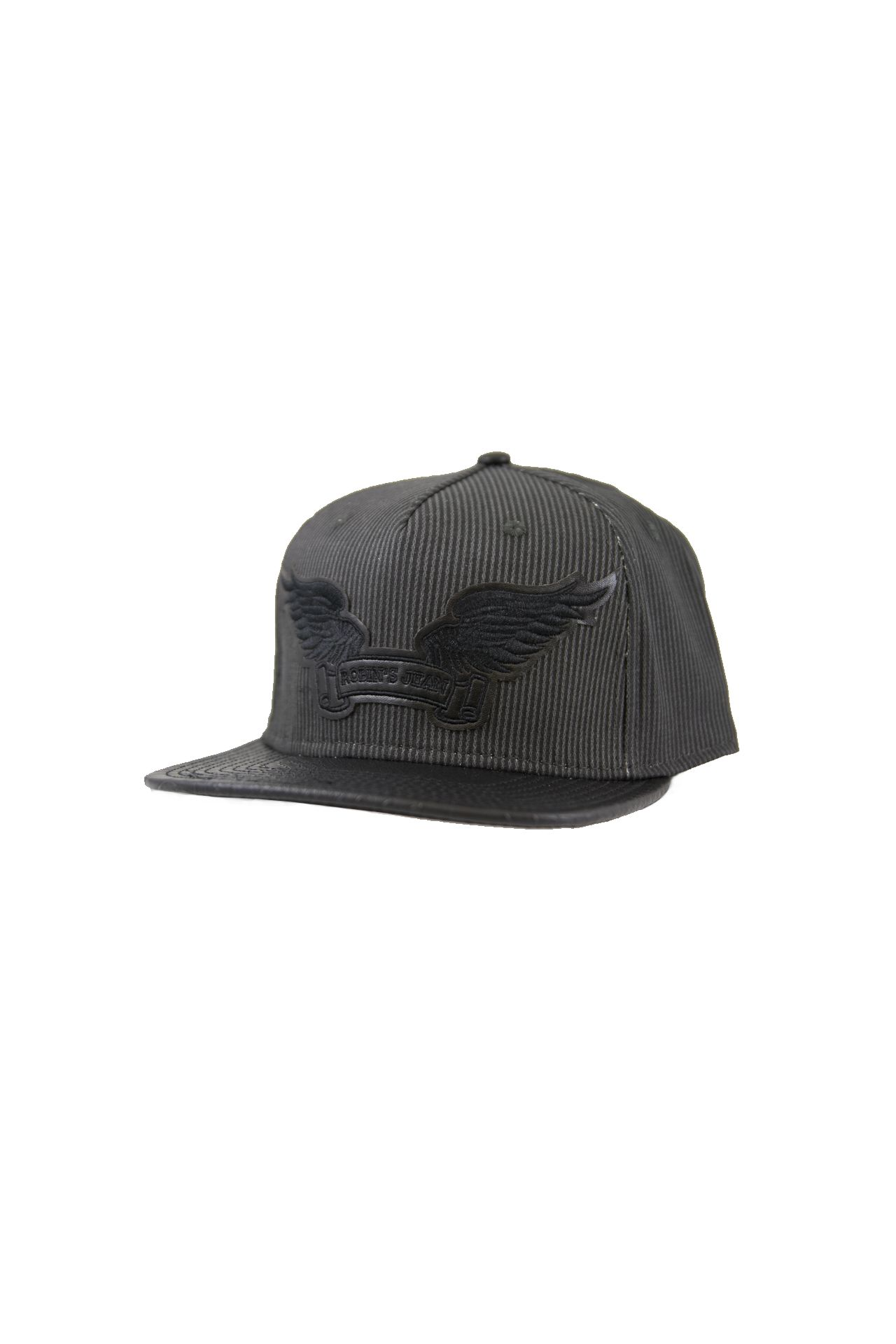 GREY STRIPES LEATHER LOOK CAP