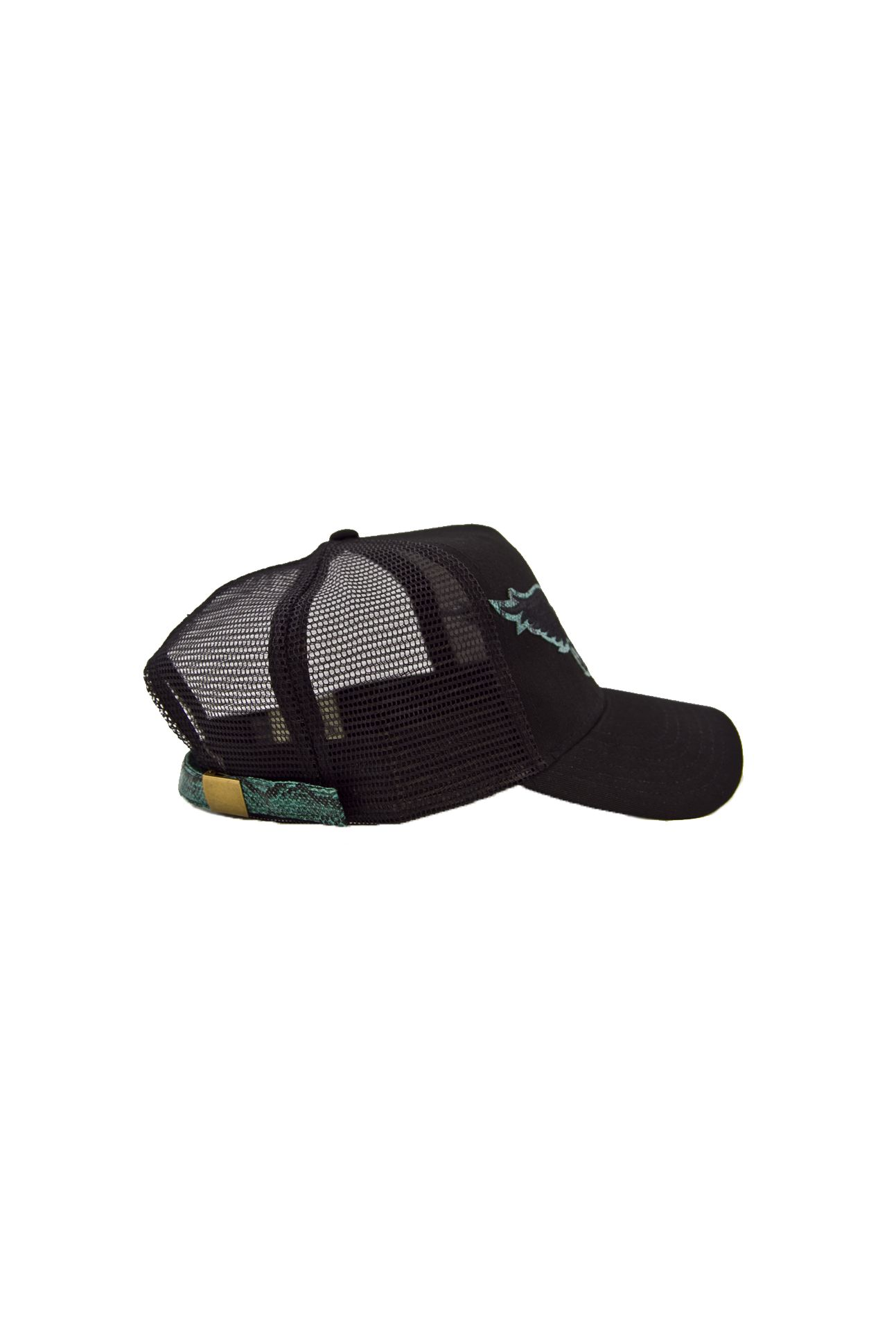 BLACK TWILL CAP WITH GREEN UNDER VISOR