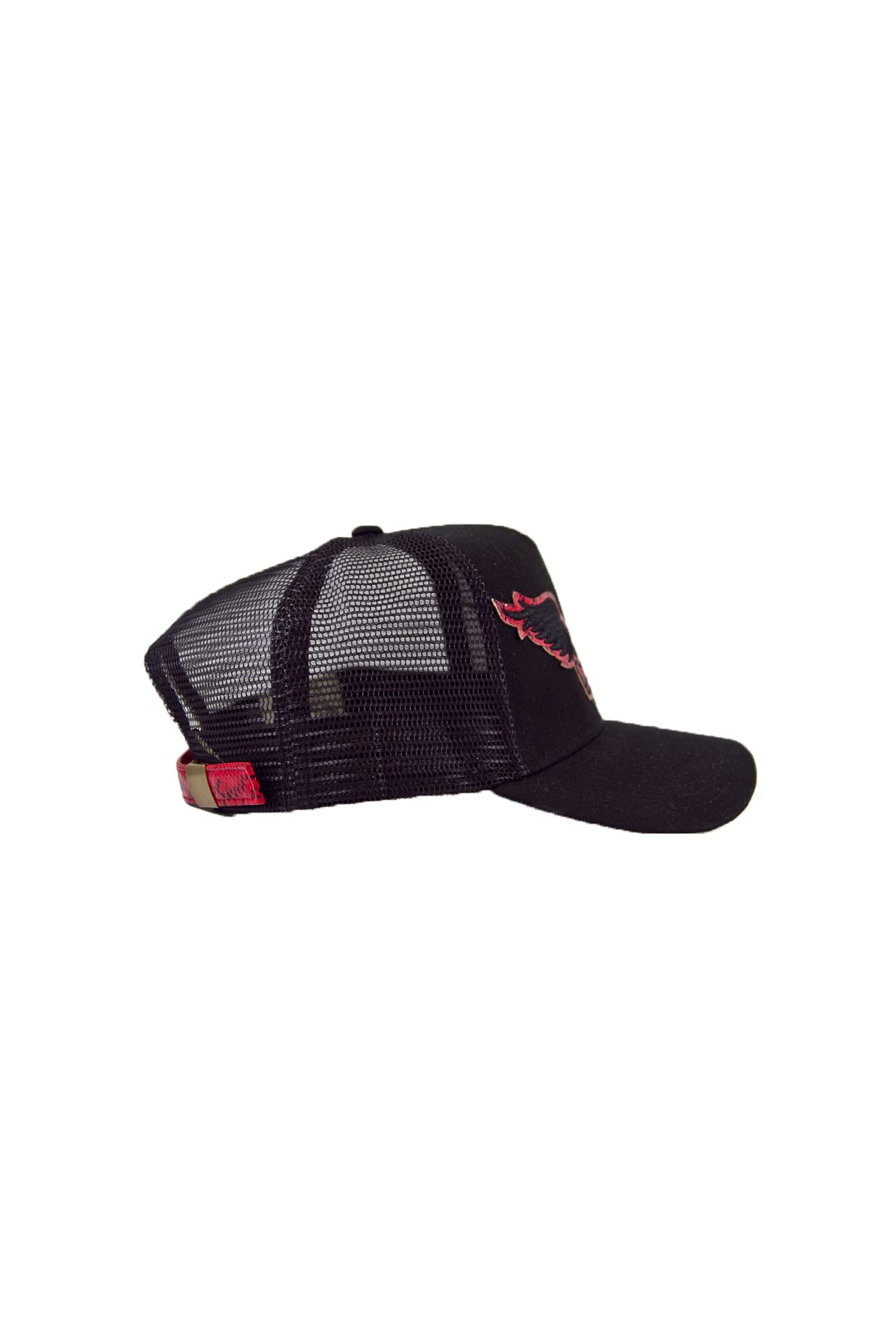 BLACK TWILL CAP WITH RED UNDER VISOR