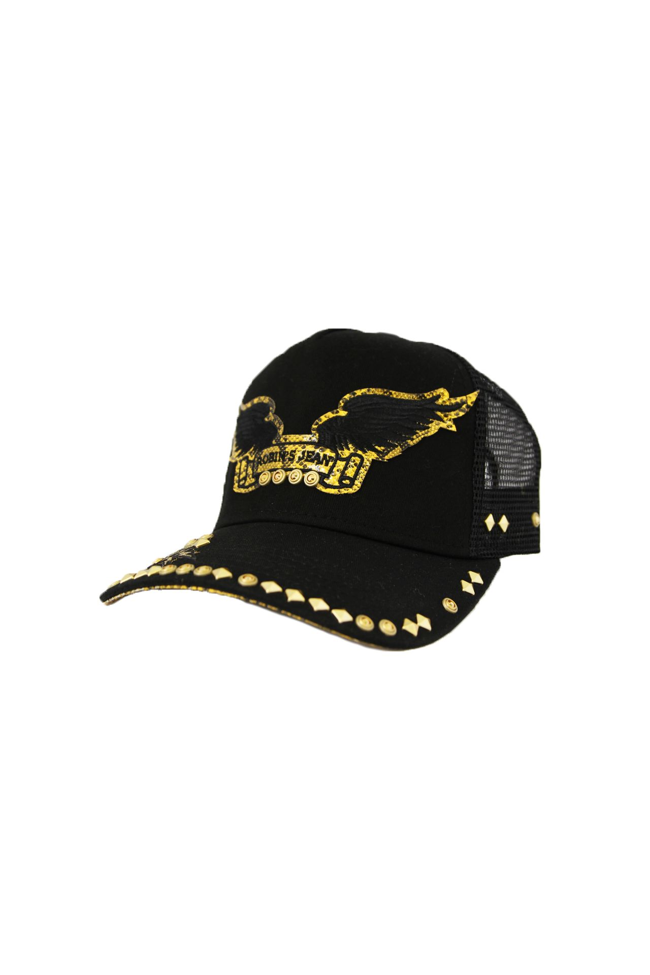 BLACK TWILL CAP STUDS WITH YELLOW UNDER VISOR