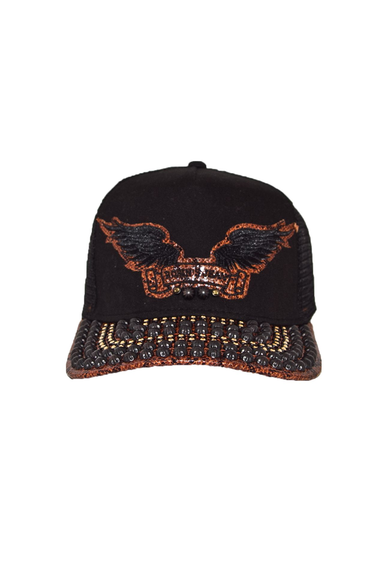 TWILL CAP BLACK STUDS AND CRYSTALS