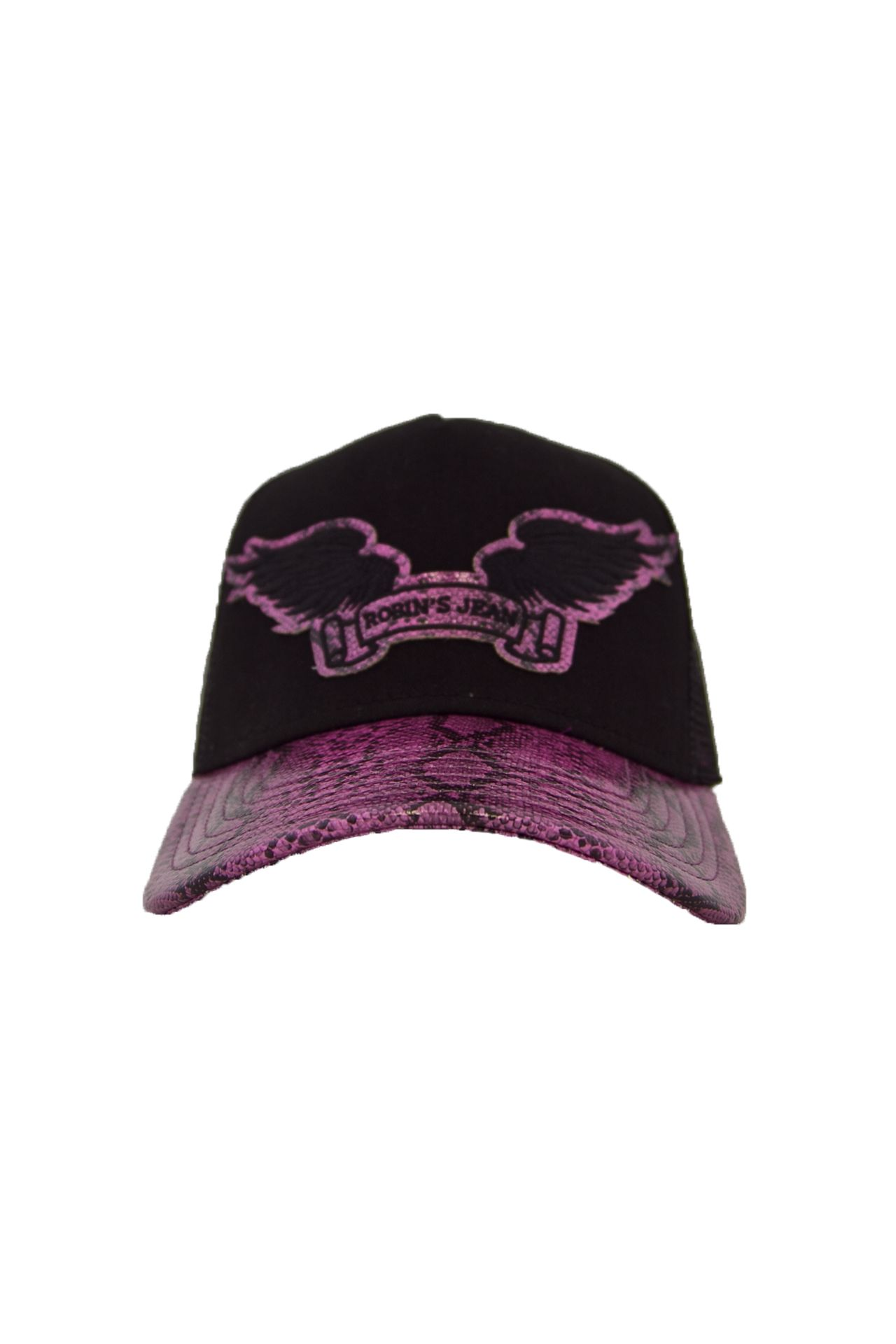 BLACK TWILL CAP WITH FUCHSIA VISOR