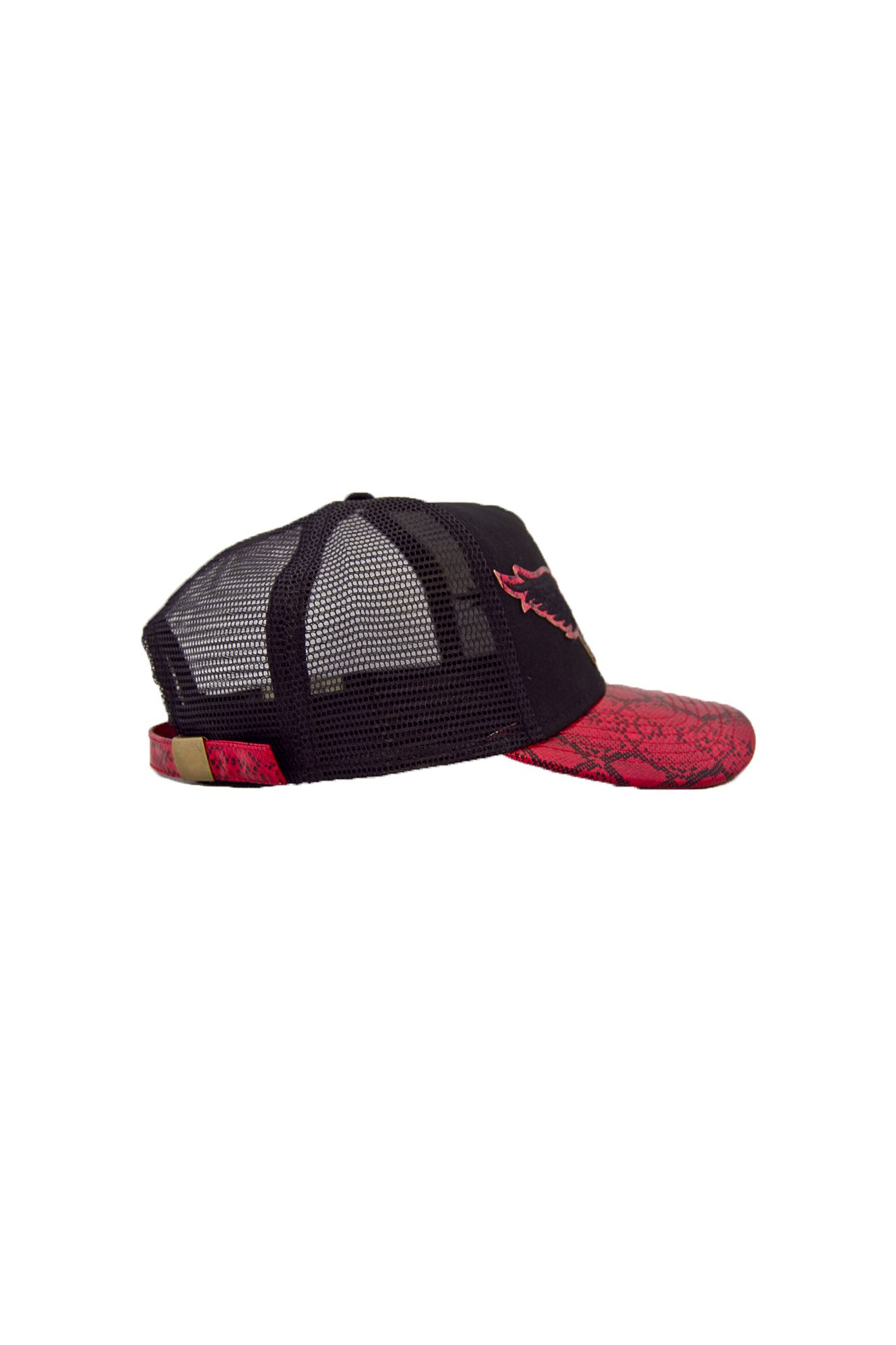 BLACK TWILL CAP WITH RED VISOR