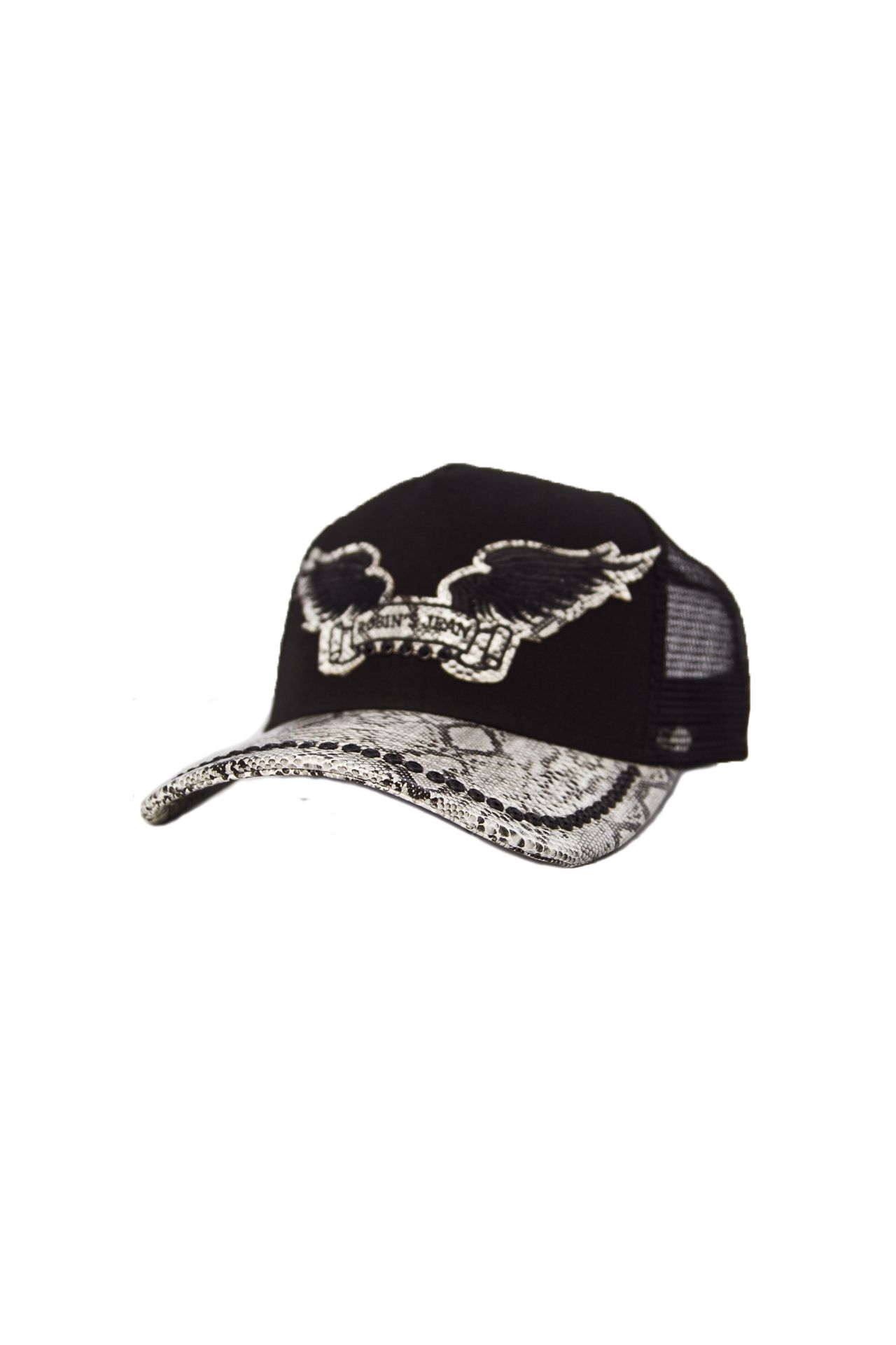 BLACK TWILL CAP WITH WHITE VISOR BLACK CRYSTALS