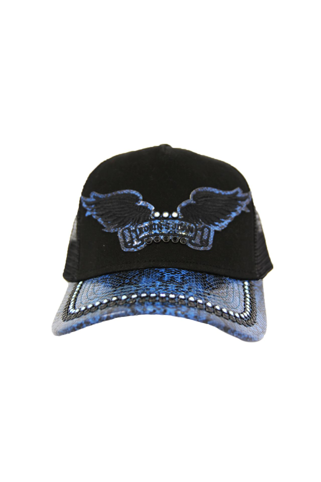 BLACK TWILL CAP WITH BLUE VISOR AND CRYSTALS