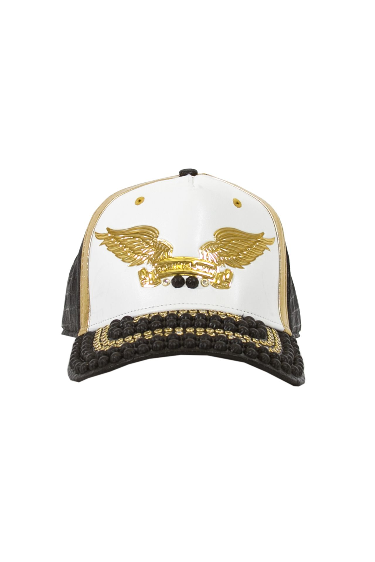 WHITE WITH GOLD ACCENT VEGAN LEATHER CAP STUDDED