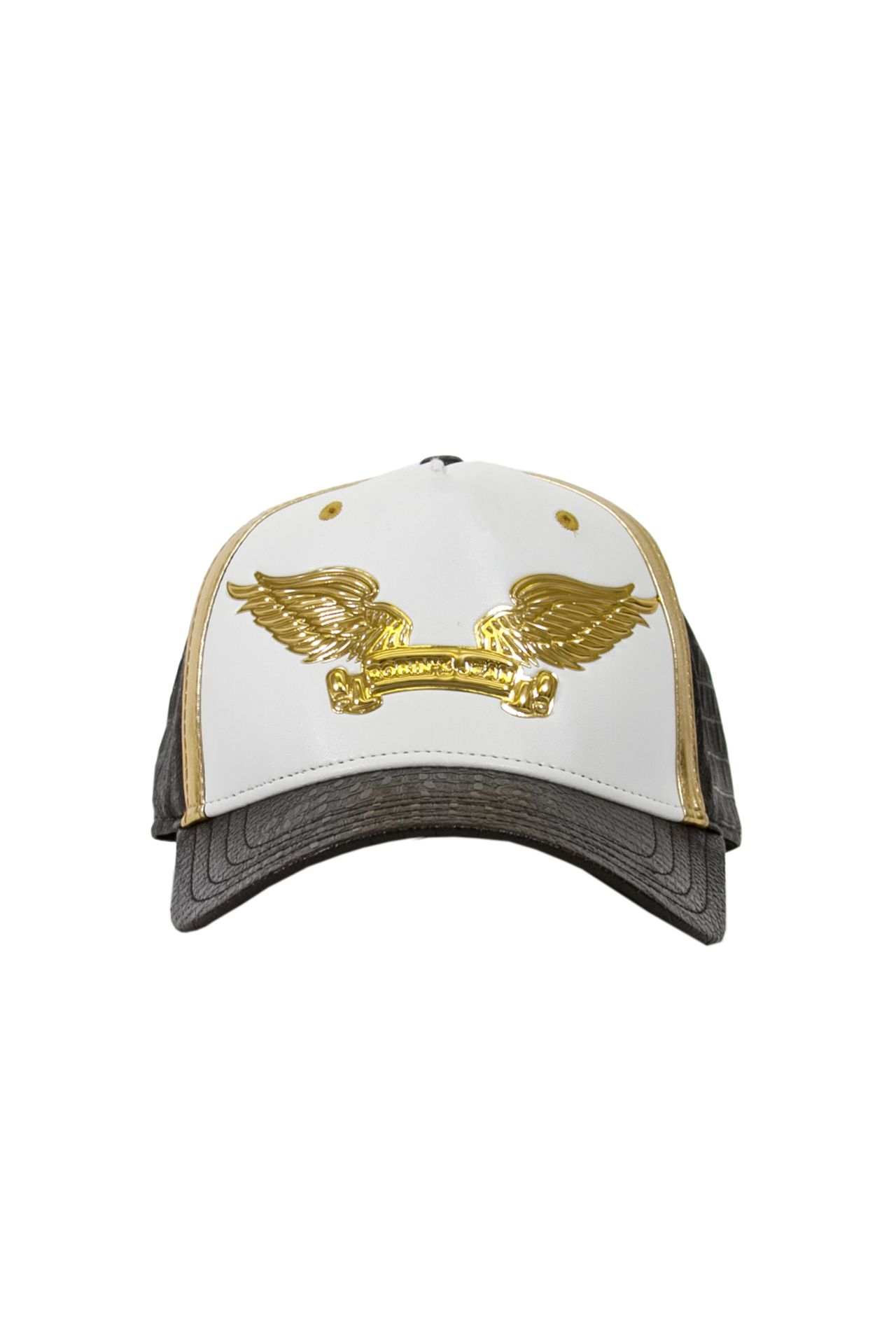 WHITE WITH GOLD ACCENT VEGAN LEATHER CAP