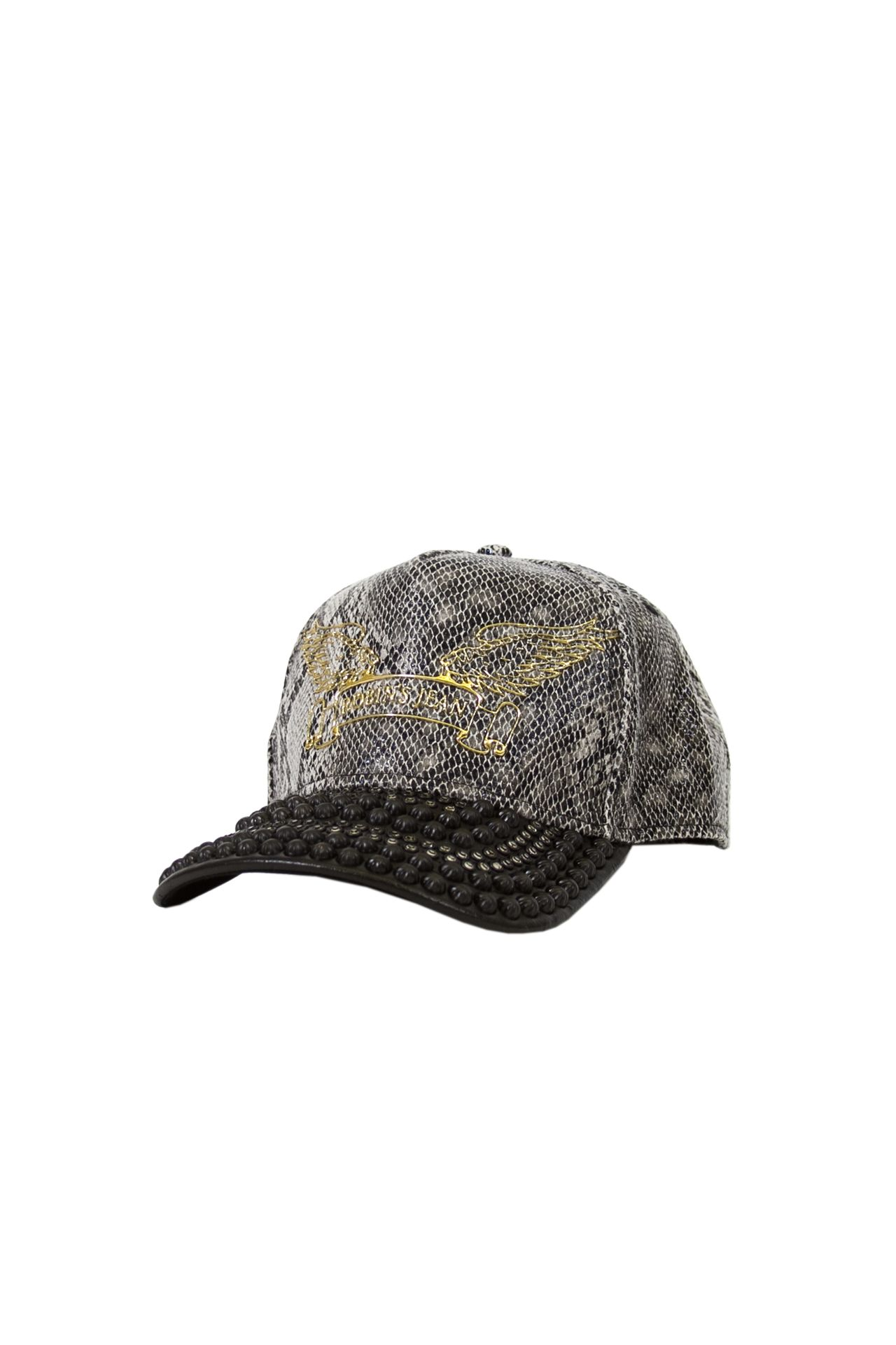 TEXTURED SNAKE CAP WITH LEATHER LOOK BILL STUDDED
