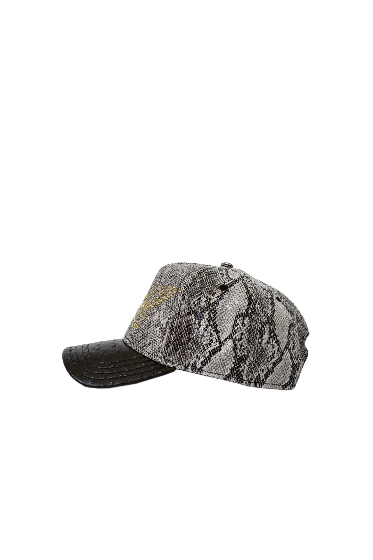 TEXTURED SNAKE CAP WITH LEATHER LOOK BILL