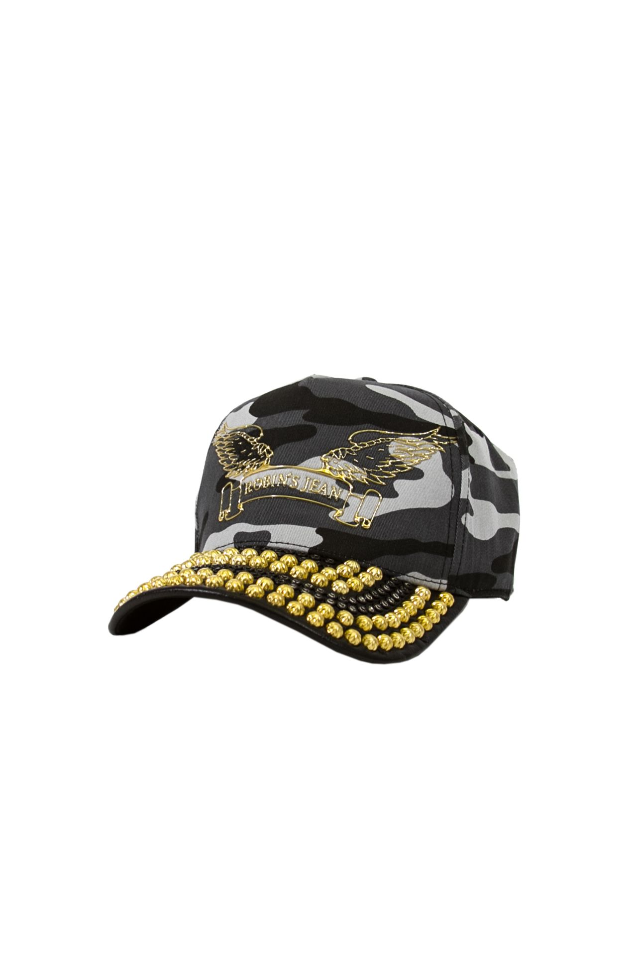 BLACK CAMO CAP WITH LEATHER LOOK BILL STUDDED