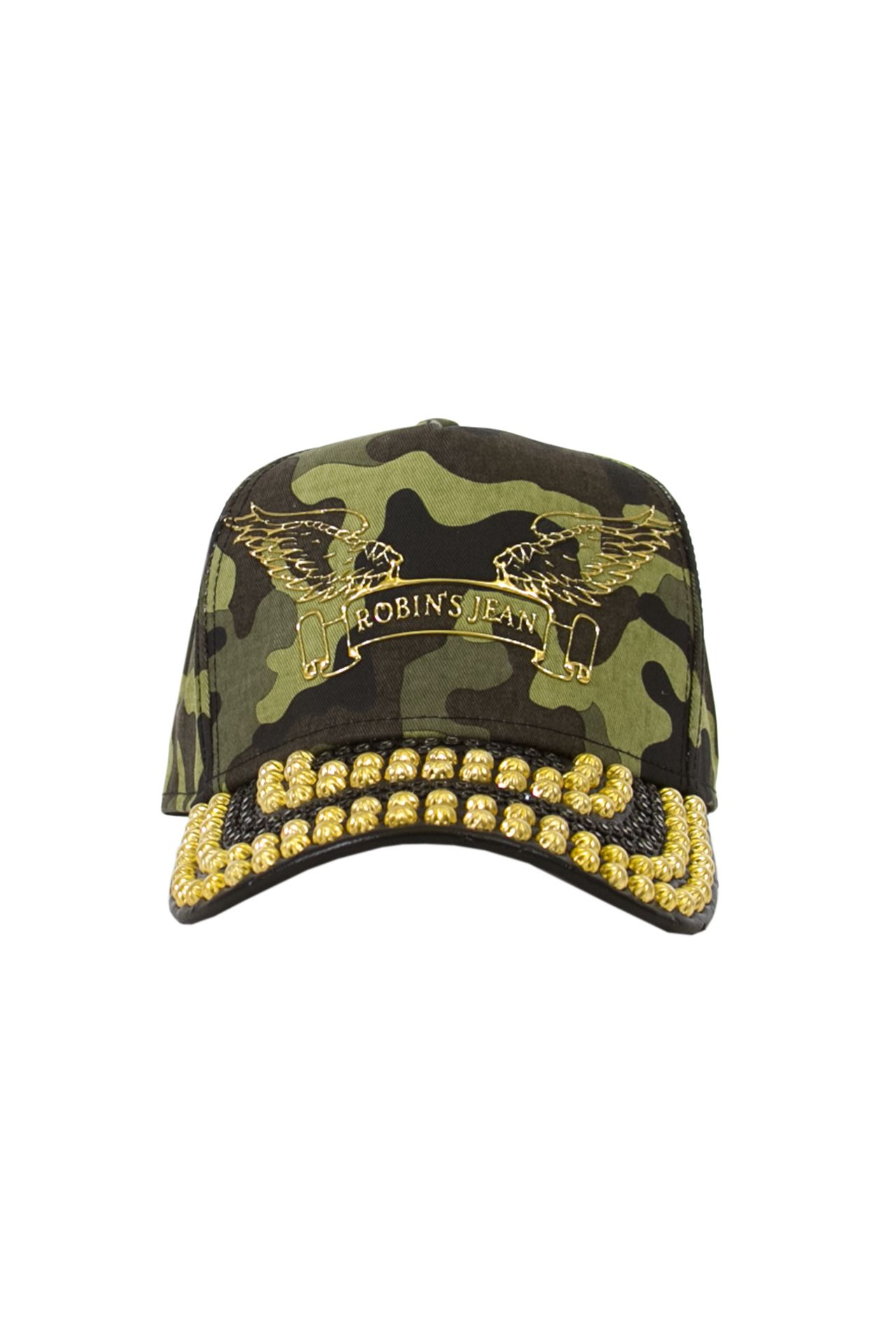 GREEN CAMO CAP WITH LEATHER LOOK BILL STUDDED