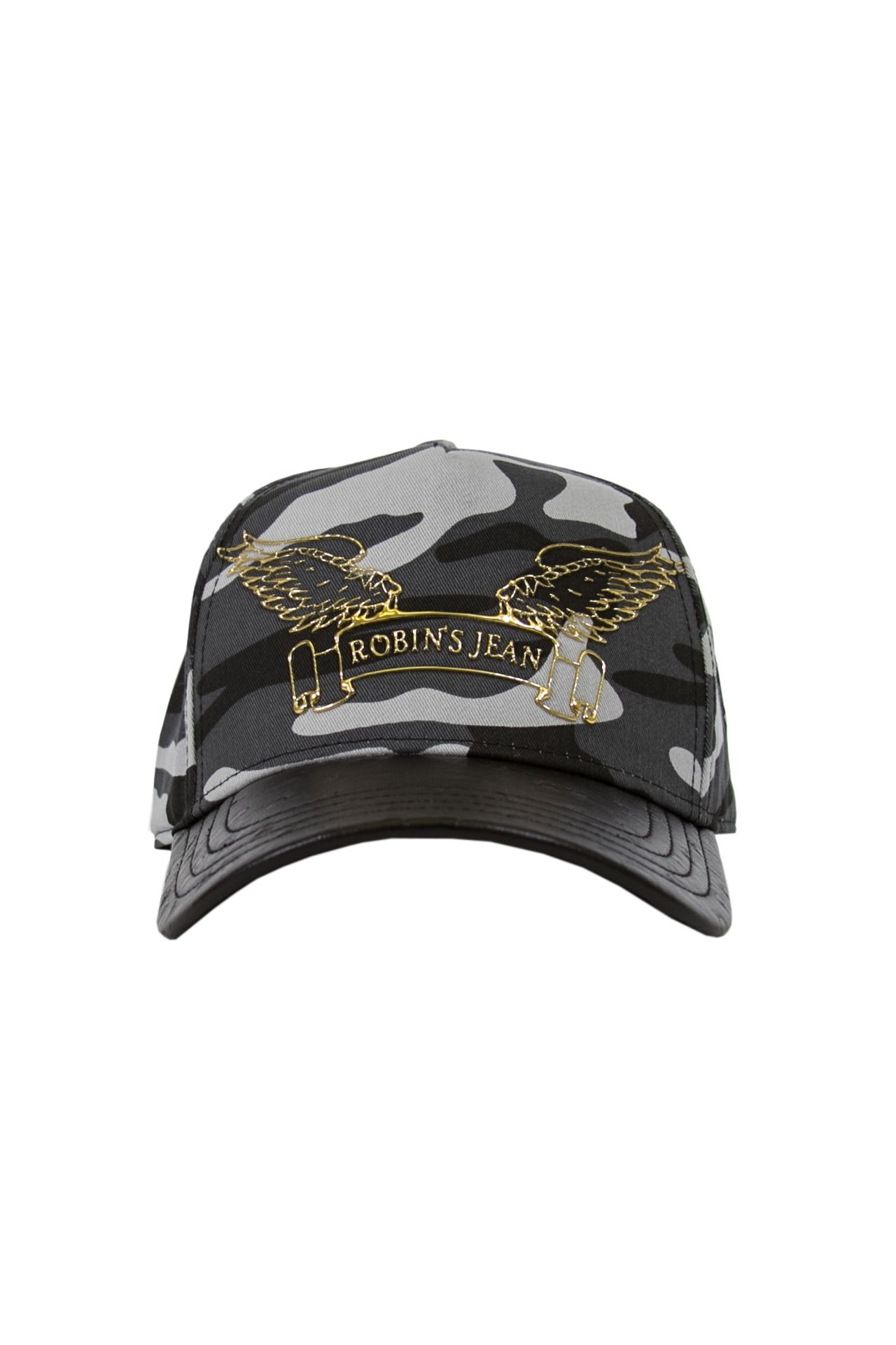 BLACK CAMO CAP WITH LEATHER LOOK BILL
