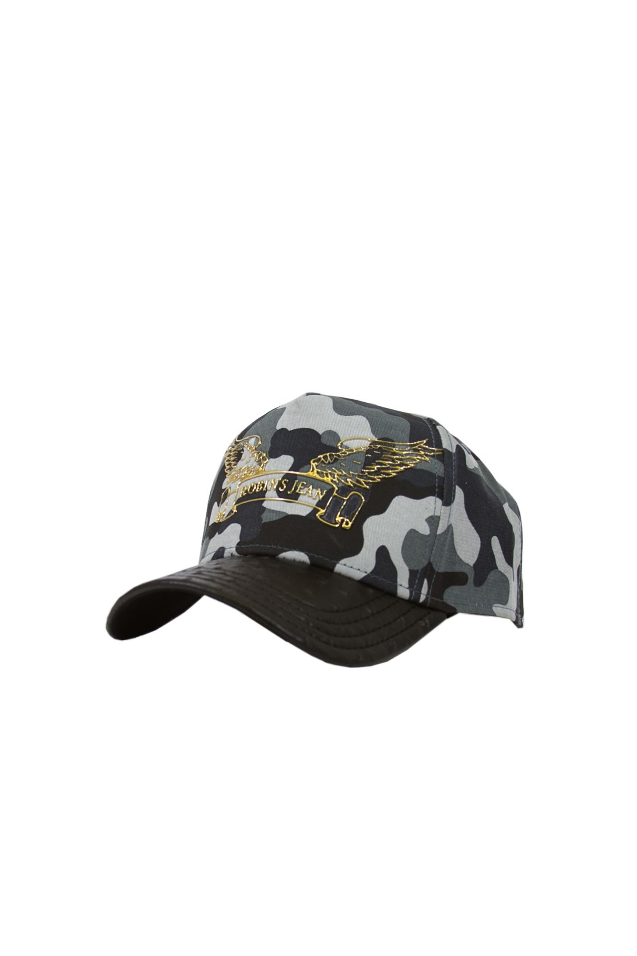 BLUE CAMO CAP WITH LEATHER LOOK BILL