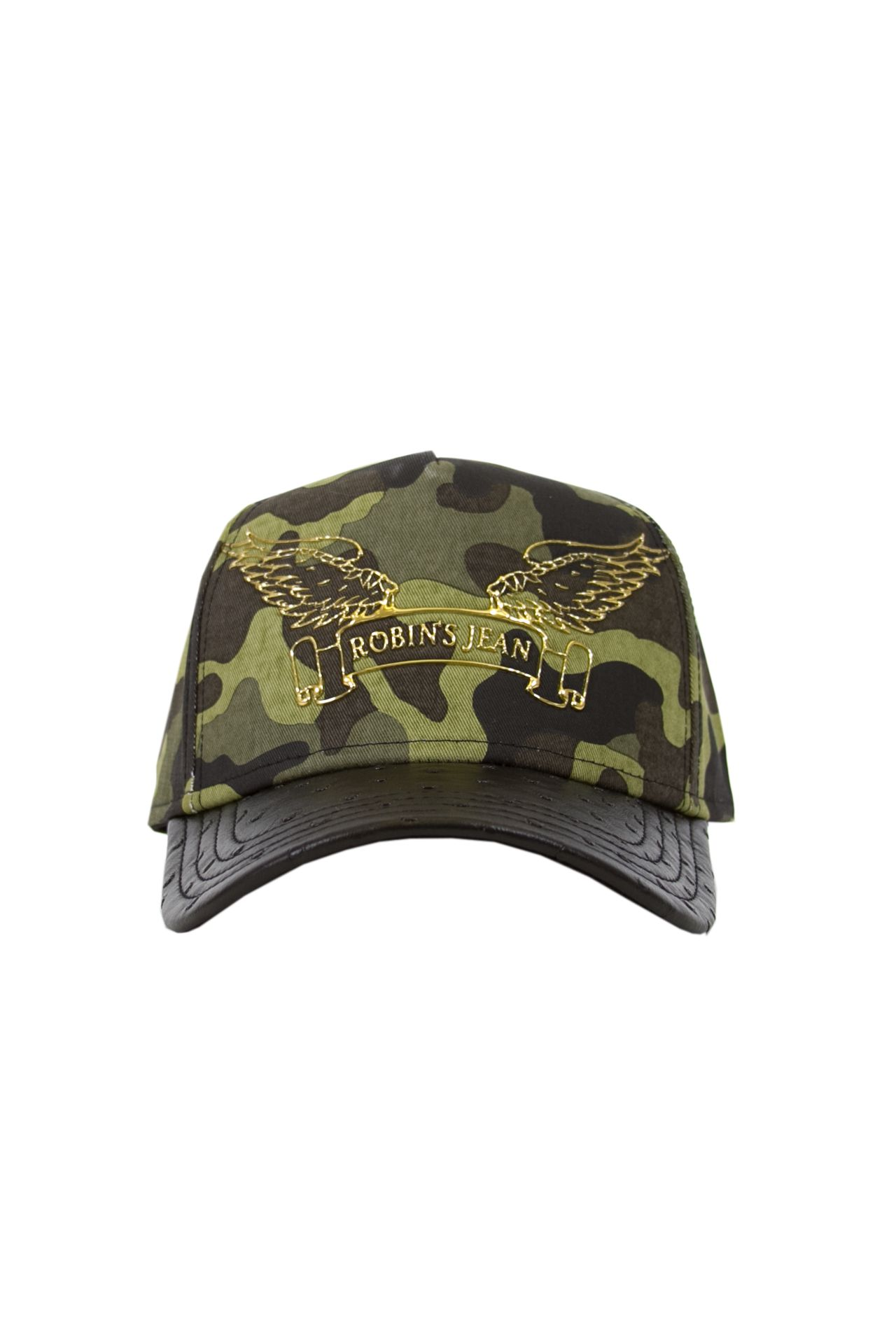 GREEN CAMO CAP WITH LEATHER LOOK BILL