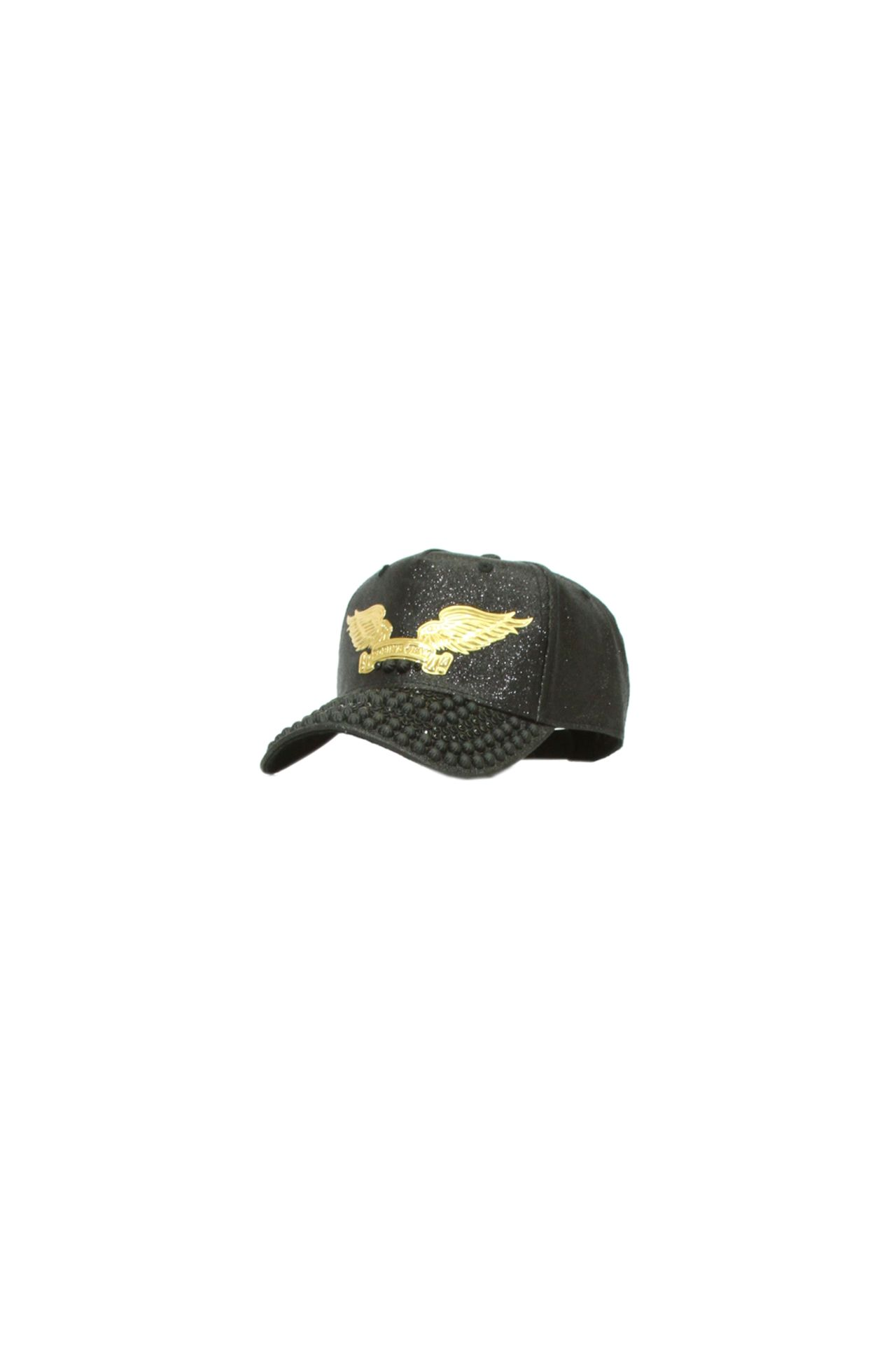 BLACK GLITTER CAP STUDDED