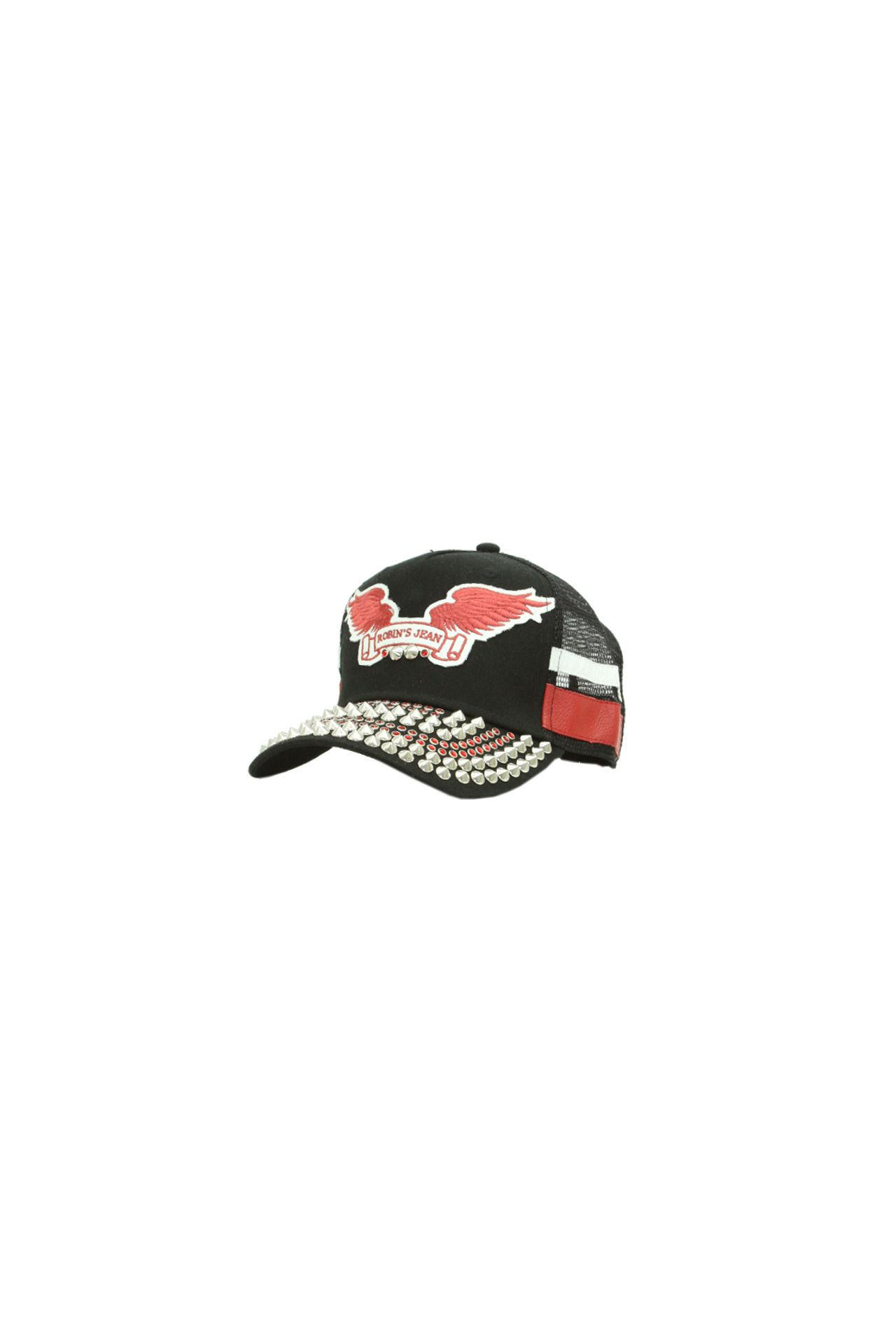 STUDDED BLACK CAP RED WINGS