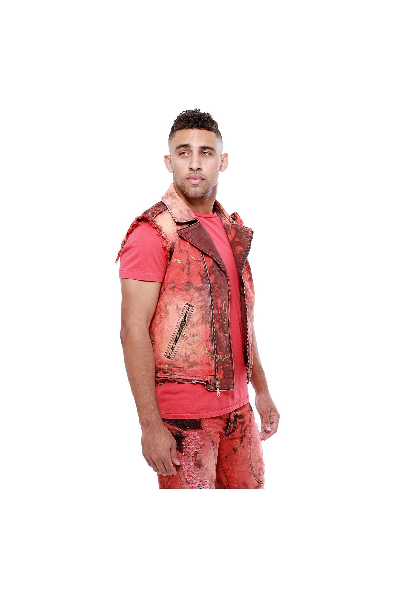 DISTRESS VEST IN CARDENAL WASH