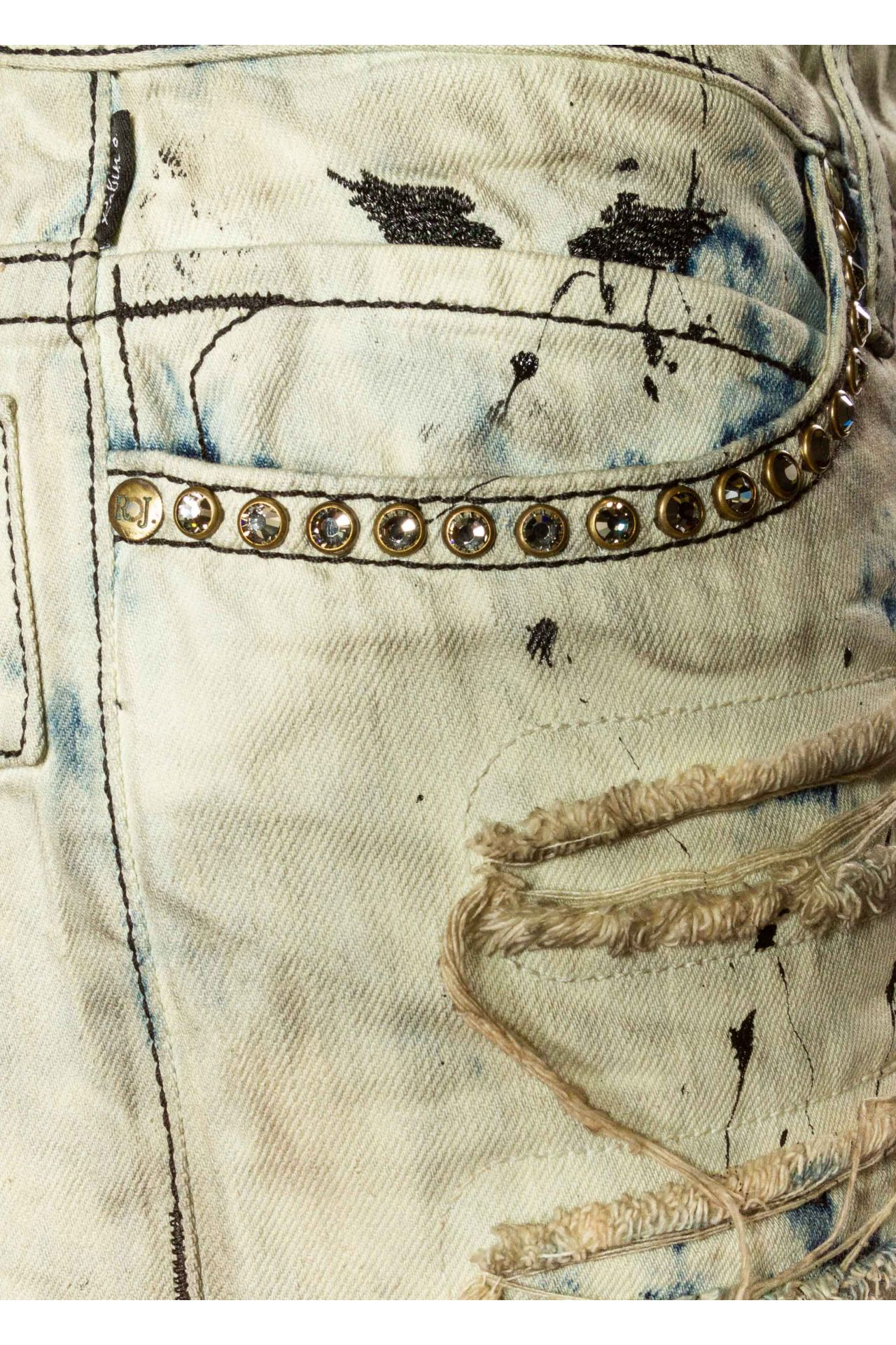 LONG FLAP IN DESTROY ACID WASH WITH CRYSTALS