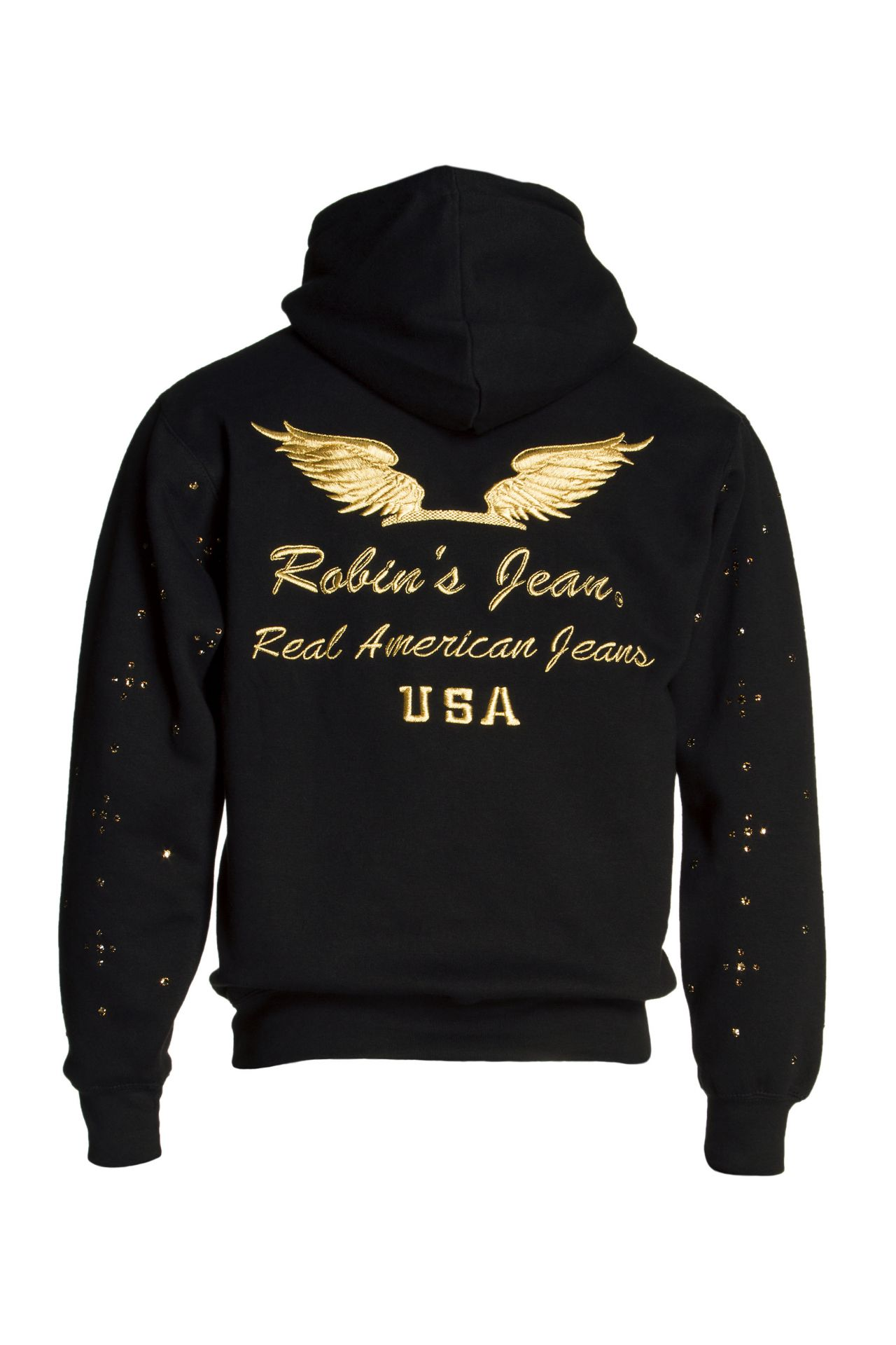 GOLD WINGS PULLOVER HOODIE WITH CRYSTALS IN BLACK
