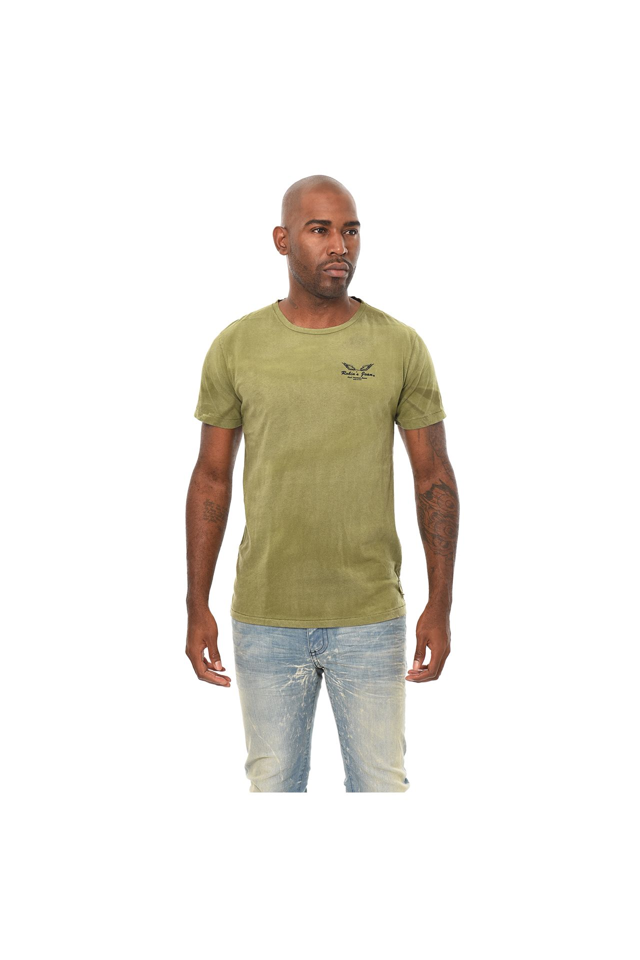 BAR WINGS BLACK FOIL TEE IN 4D DARK  GREEN TEA