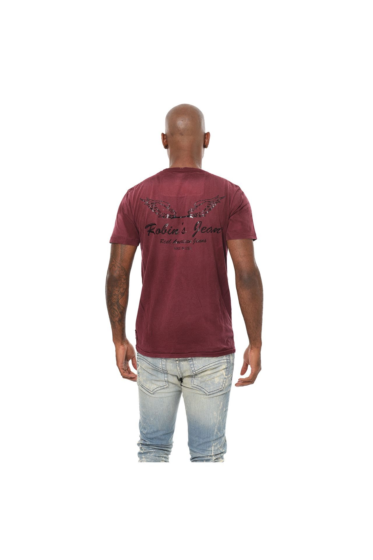 BAR WINGS BLACK FOIL TEE IN 4D DARK MALBEC