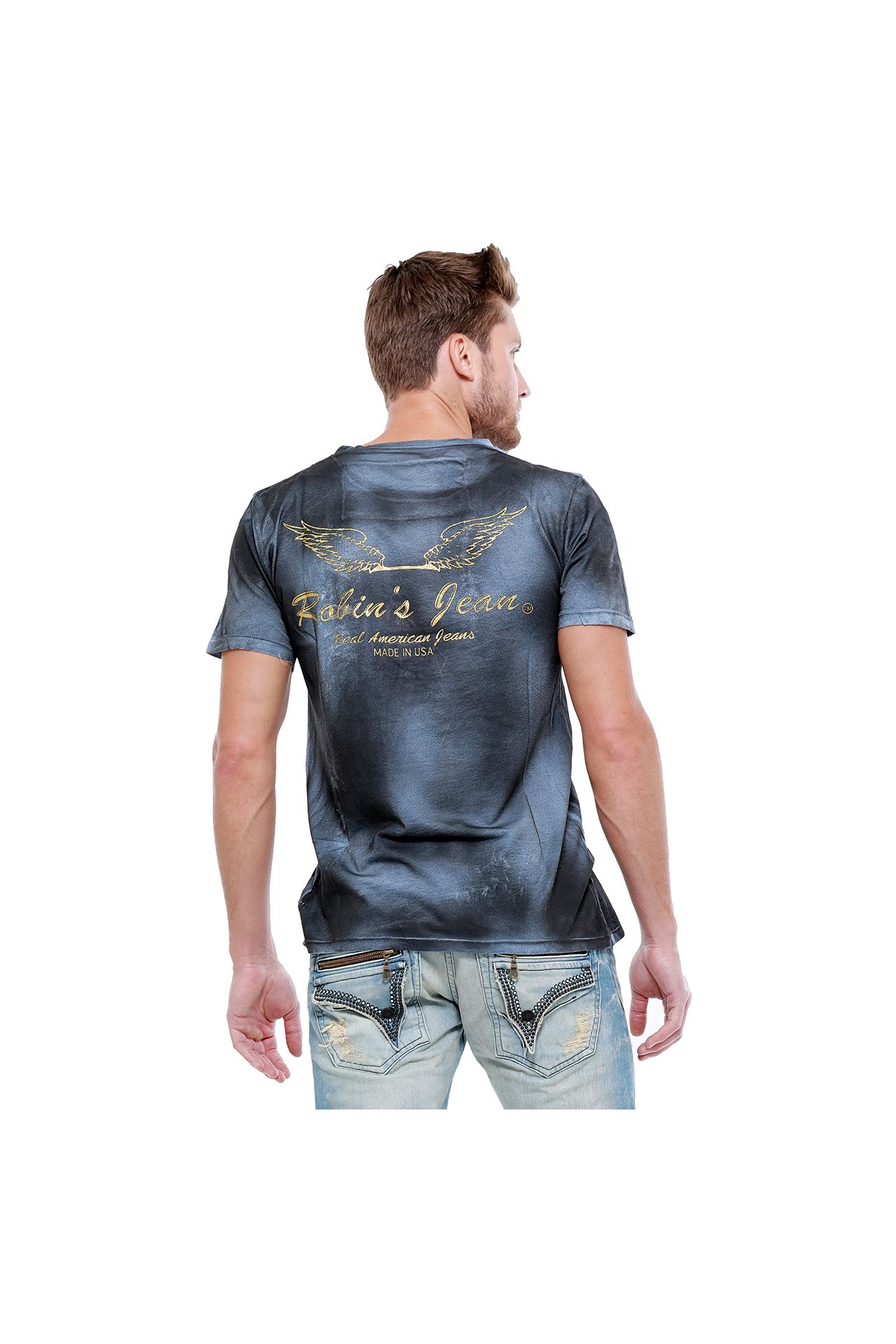 WINGS GOLD GLITTER TEE IN TEMPEST DULL BLUE