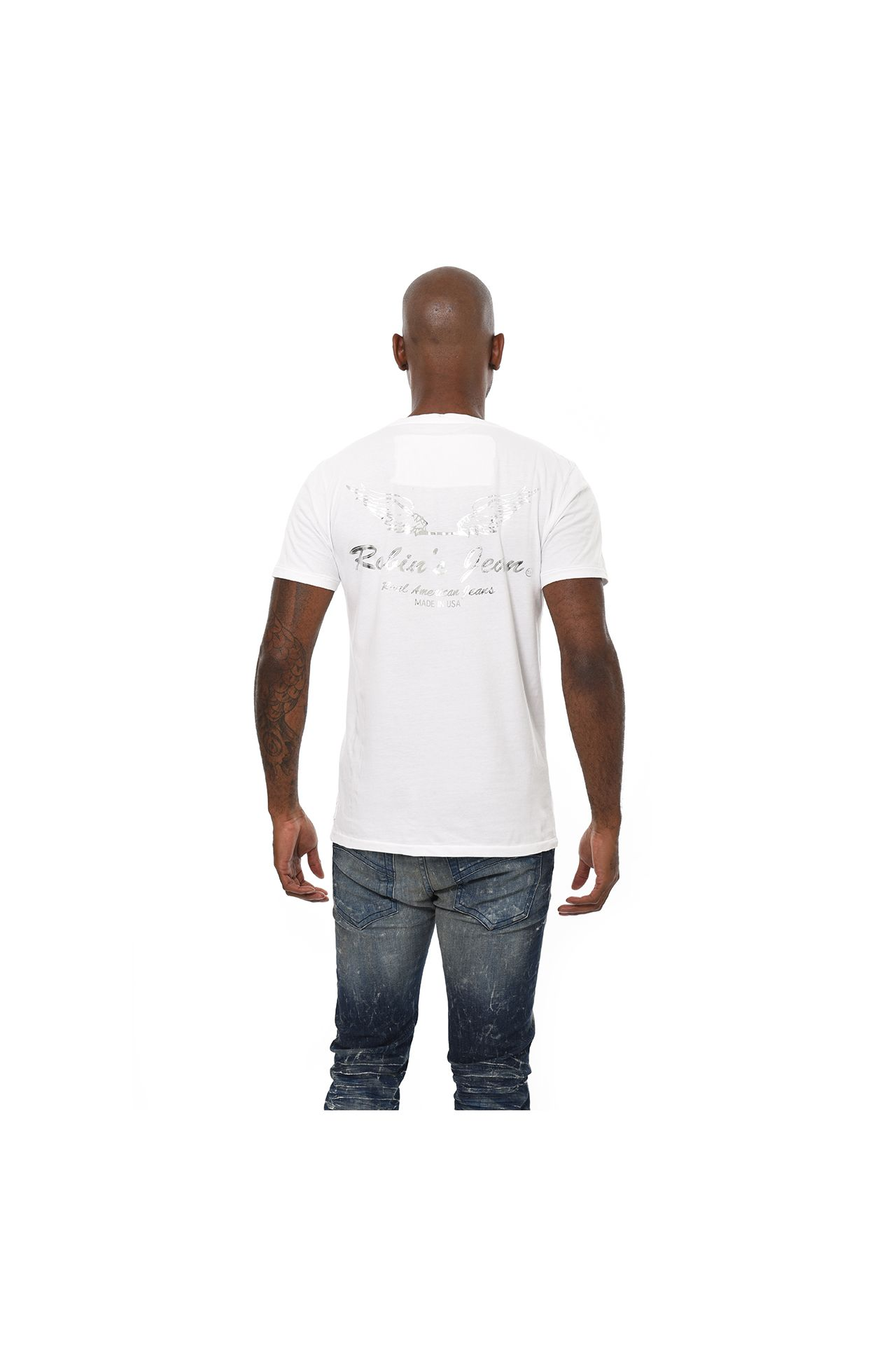 BAR WINGS SILVER FOIL TEE IN WHITE