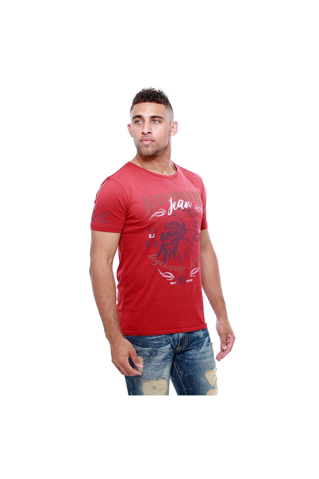 NATIVE SKULL TEE IN F__UP RED