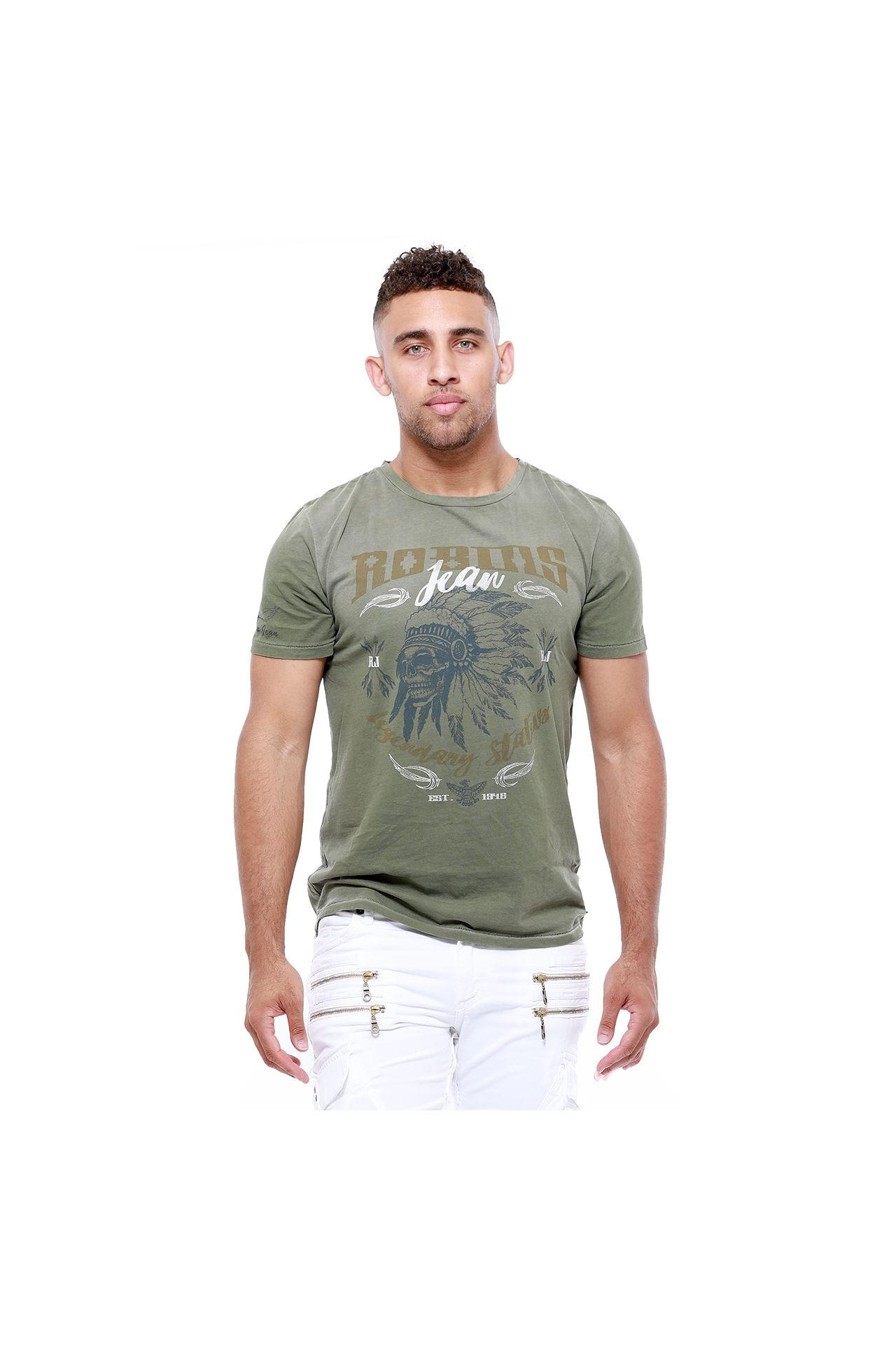 NATIVE SKULL TEE IN PIG SPRAY GREEN ARMY