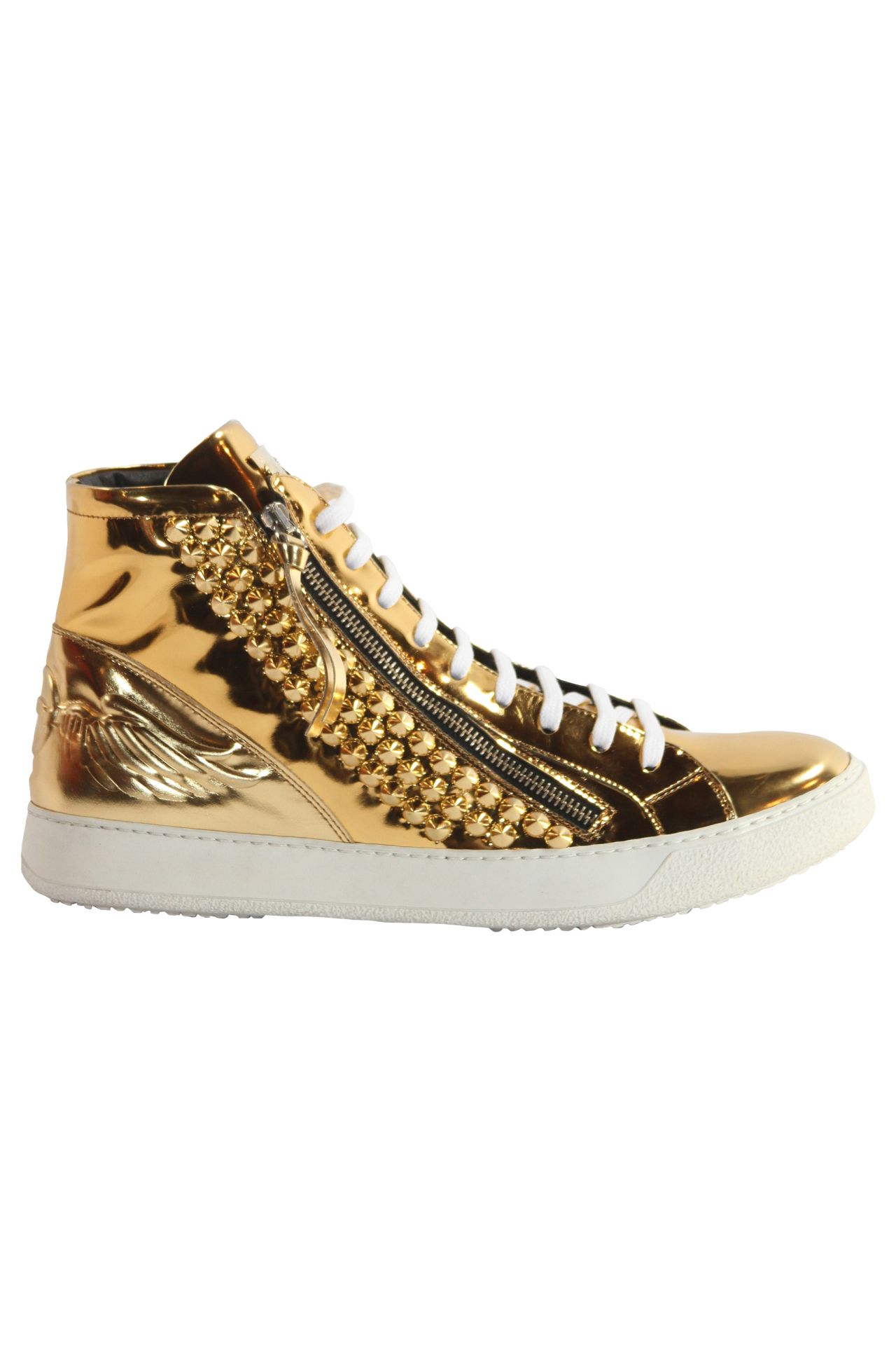 HI TOP ZIPPER IN GOLD WITH SPIKES