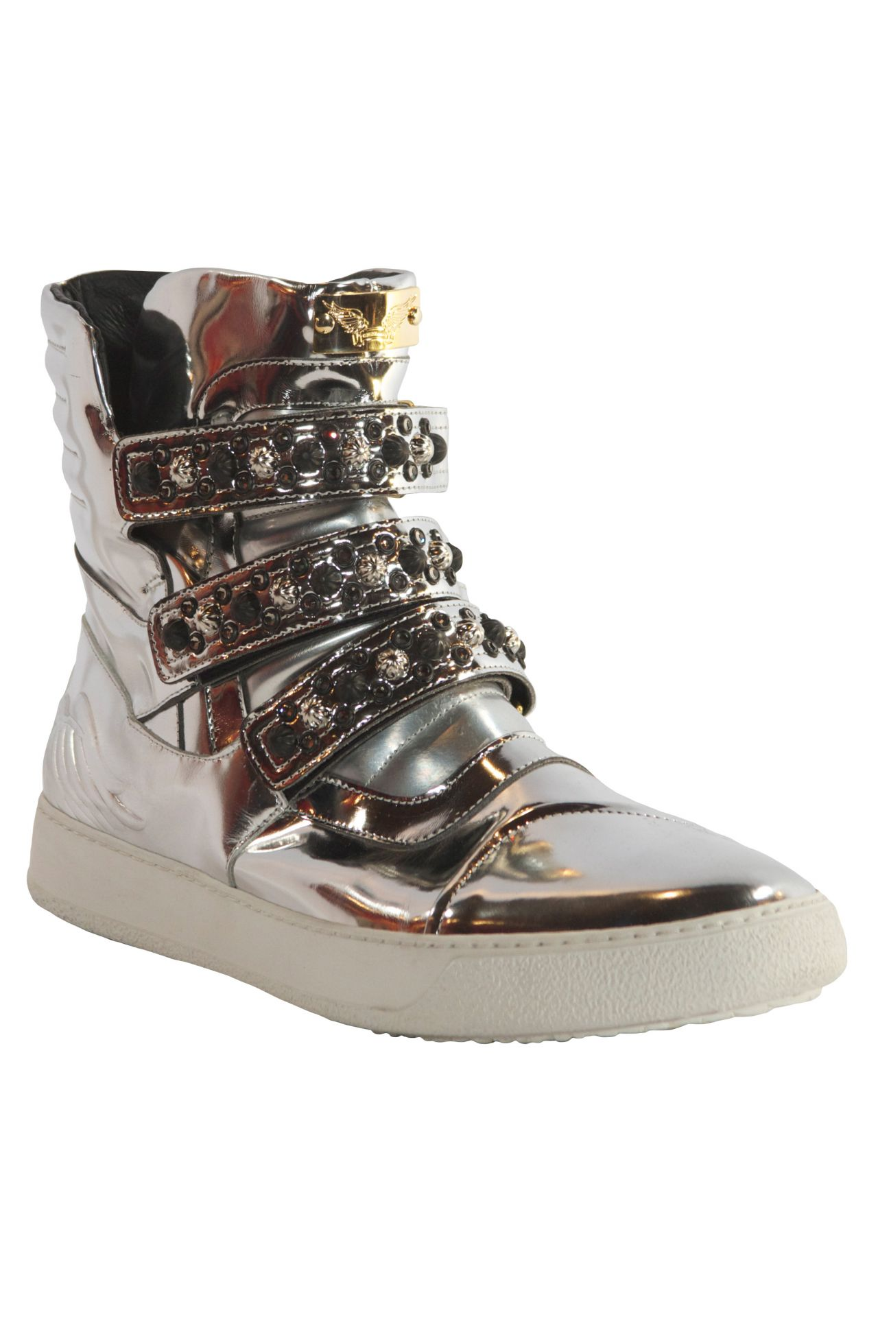 MID TOP STRAPES IN LAMINATE SILVER WITH STUDDING