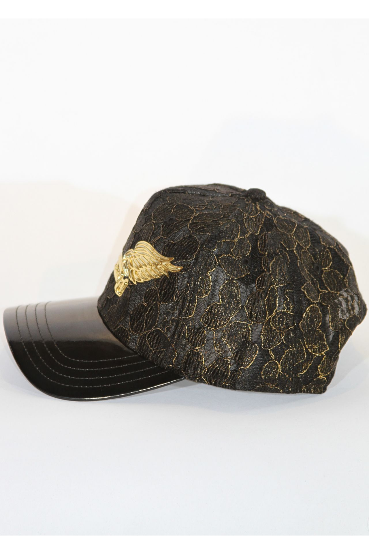BLACK & GOLD LACED CAP WITH GOLD WINGS