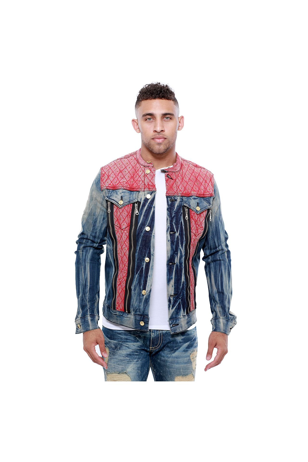 DENIM JACKET WITH RED INSERT AND STUDS