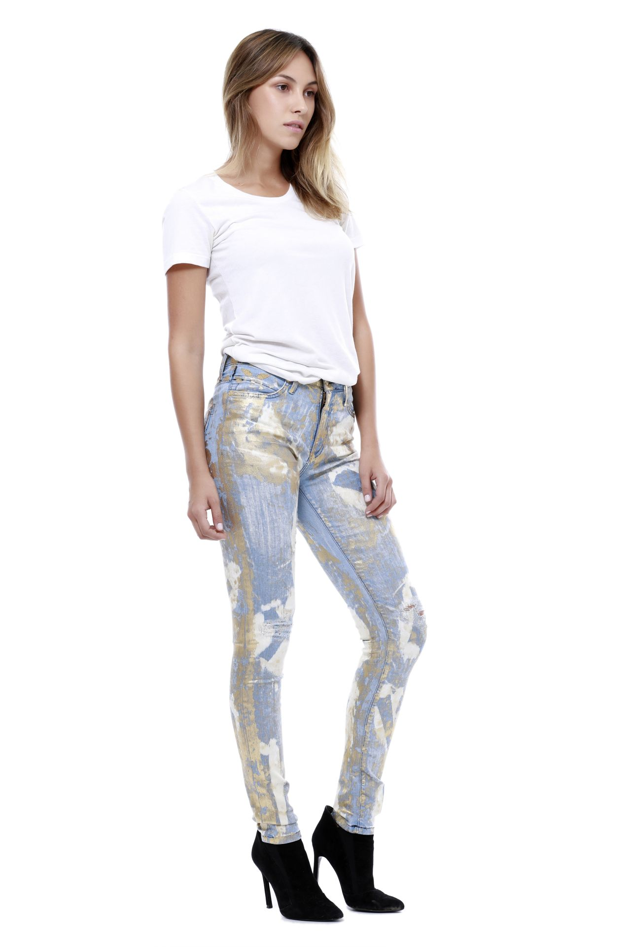 HIGHWAIST SKINNY FAMOUS 3D LIGHT GOLD