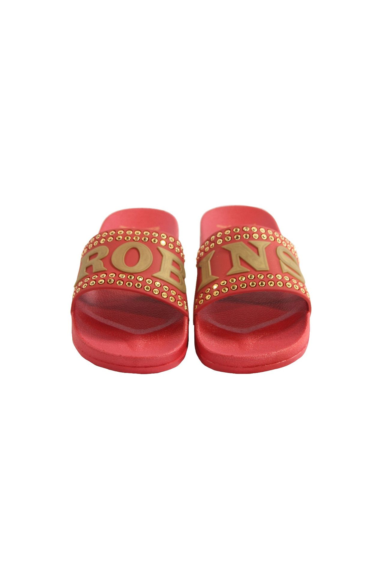 ROBIN SLIDES IN RED WITH GOLD CRYSTALS
