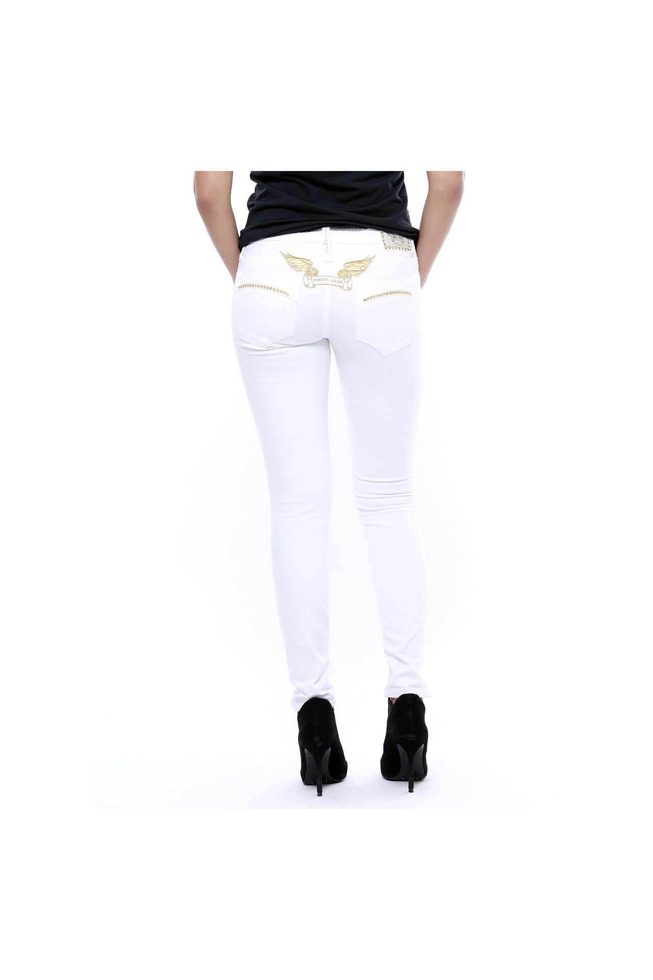 MARILYN SKINNY WHITE STUDDED