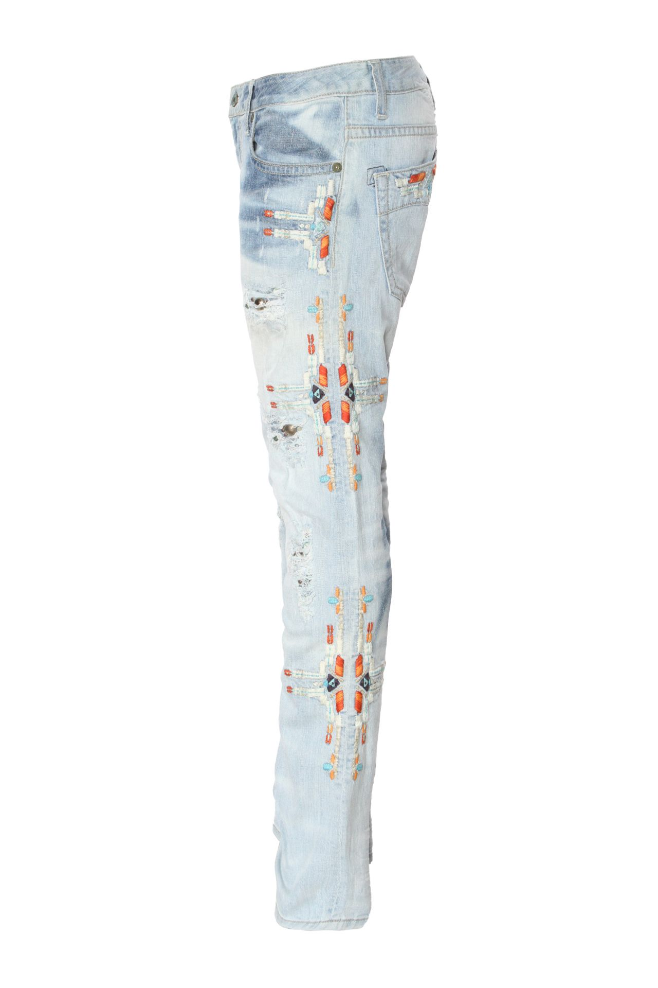 CLASSIC SLIM  IN NICOLE LIGHT BROKEN  WITH EMBROIDERY