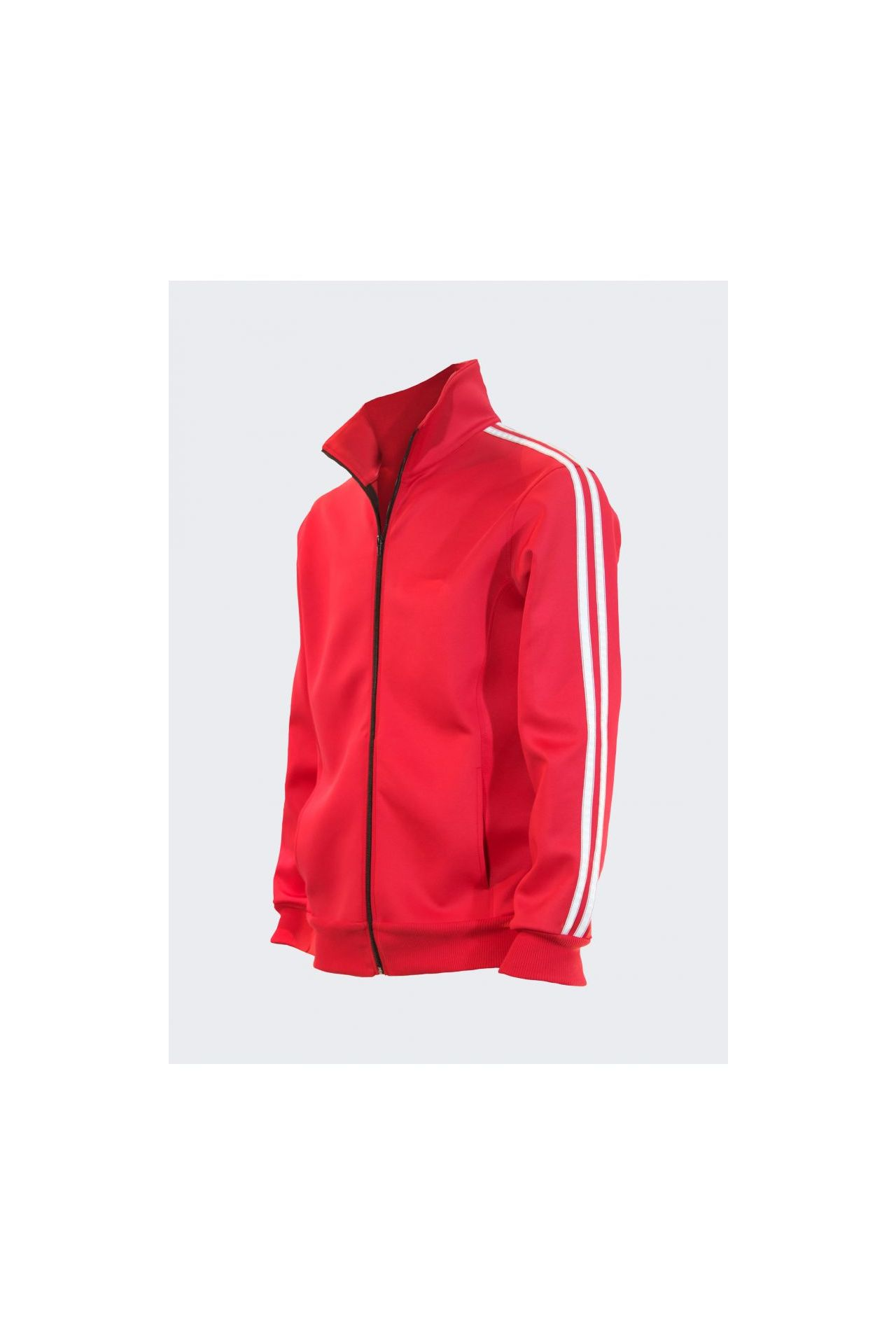 TRACK JACKET IN RED WITH WHITE STRIPE
