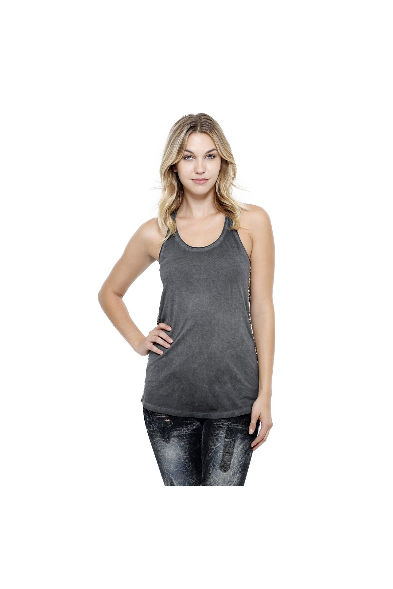 STUDDED TANK IN CHARCOAL